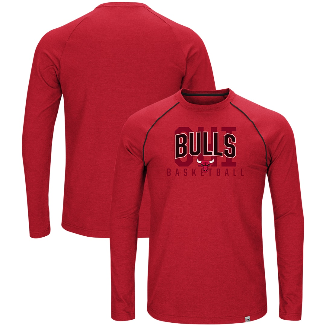 Chicago Bulls Majestic Hitting the Mark Long Sleeve Tri-Blend T-Shirt - Red