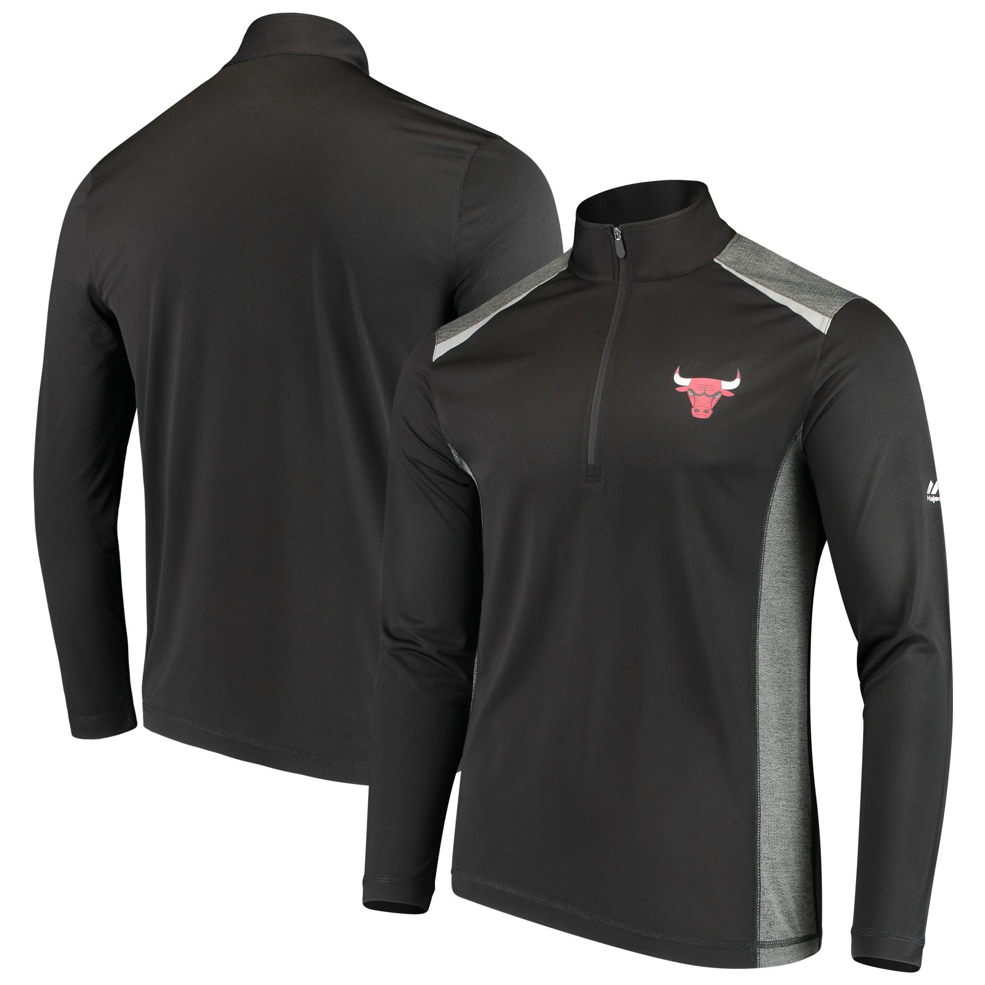 Chicago Bulls Majestic Loose Ball Half-Zip Pullover Jacket - Black