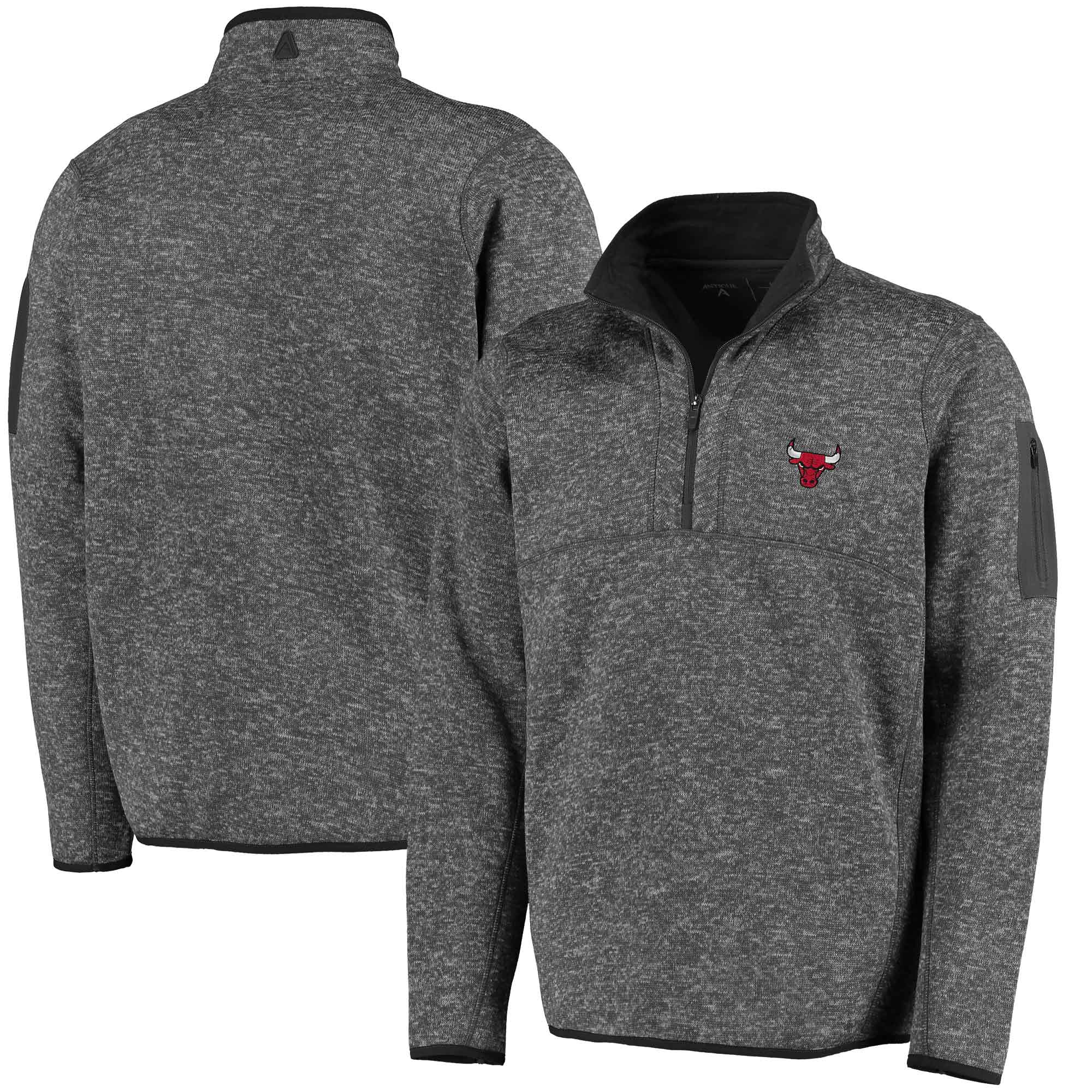 Chicago Bulls Antigua Fortune Half-Zip Pullover Jacket - Heathered Charcoal