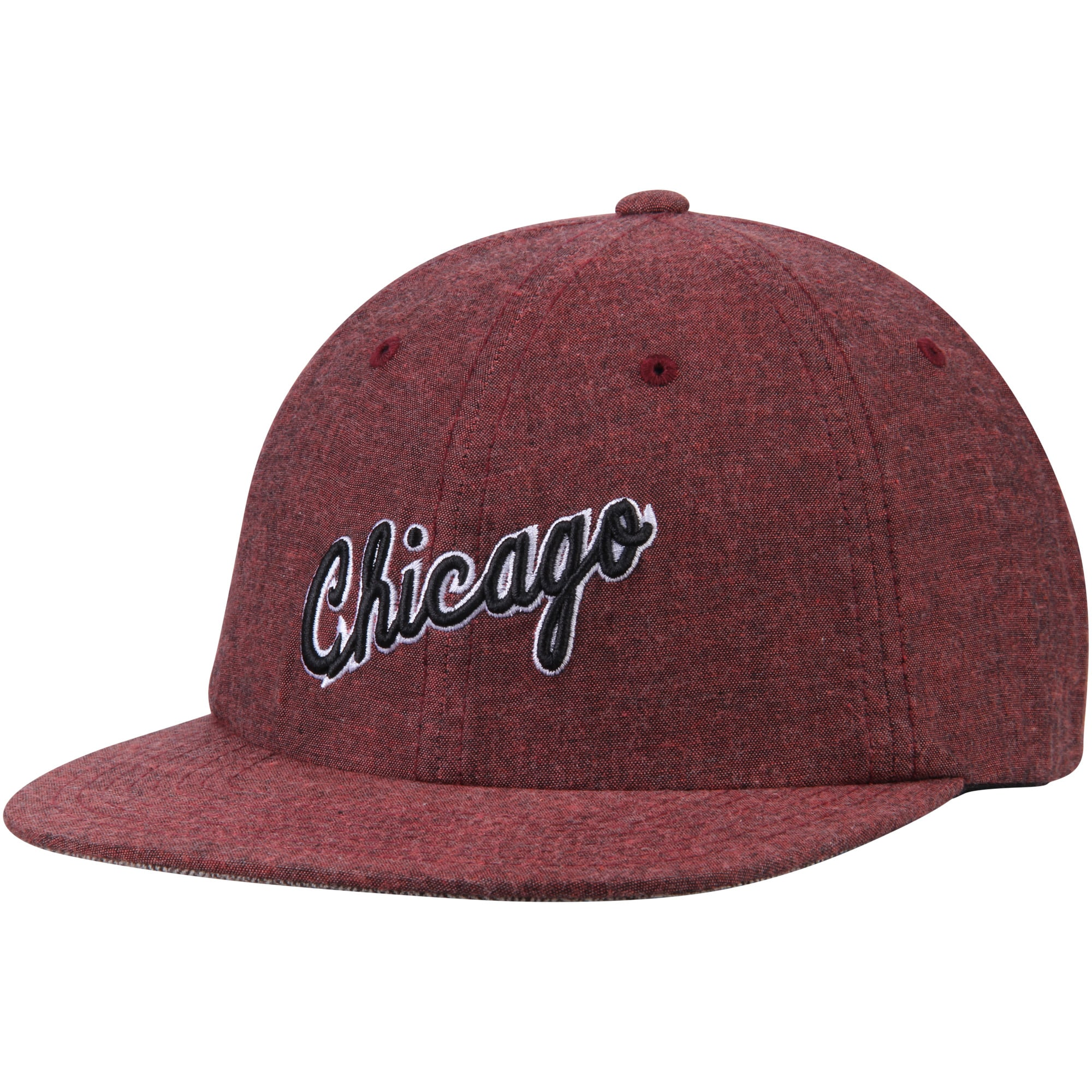 Chicago Bulls Mitchell & Ness Hardwood Classics Cotton Melange Clip Strapback Adjustable Hat - Heathered Red