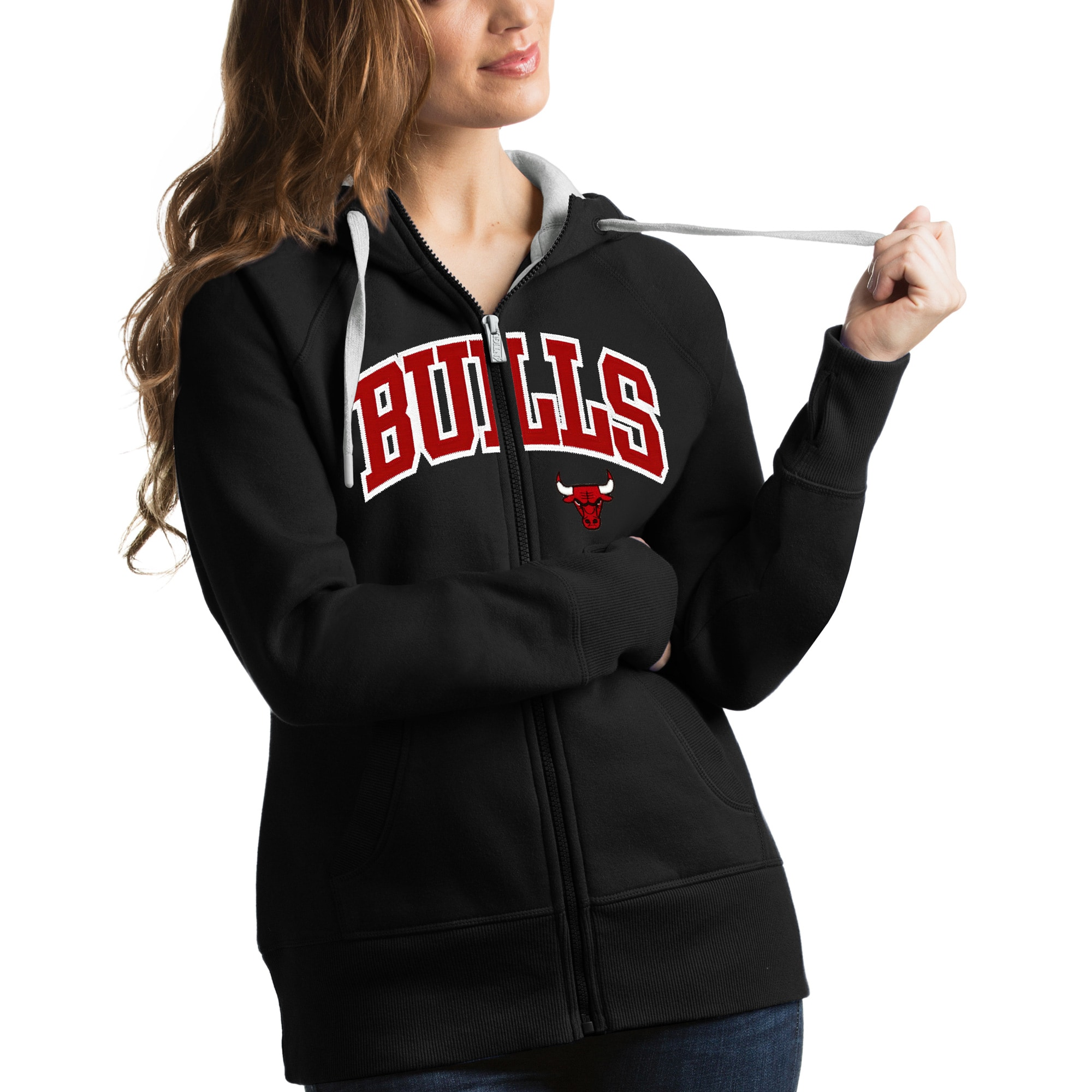 Chicago Bulls Antigua Women's Victory Full-Zip Hoodie - Black