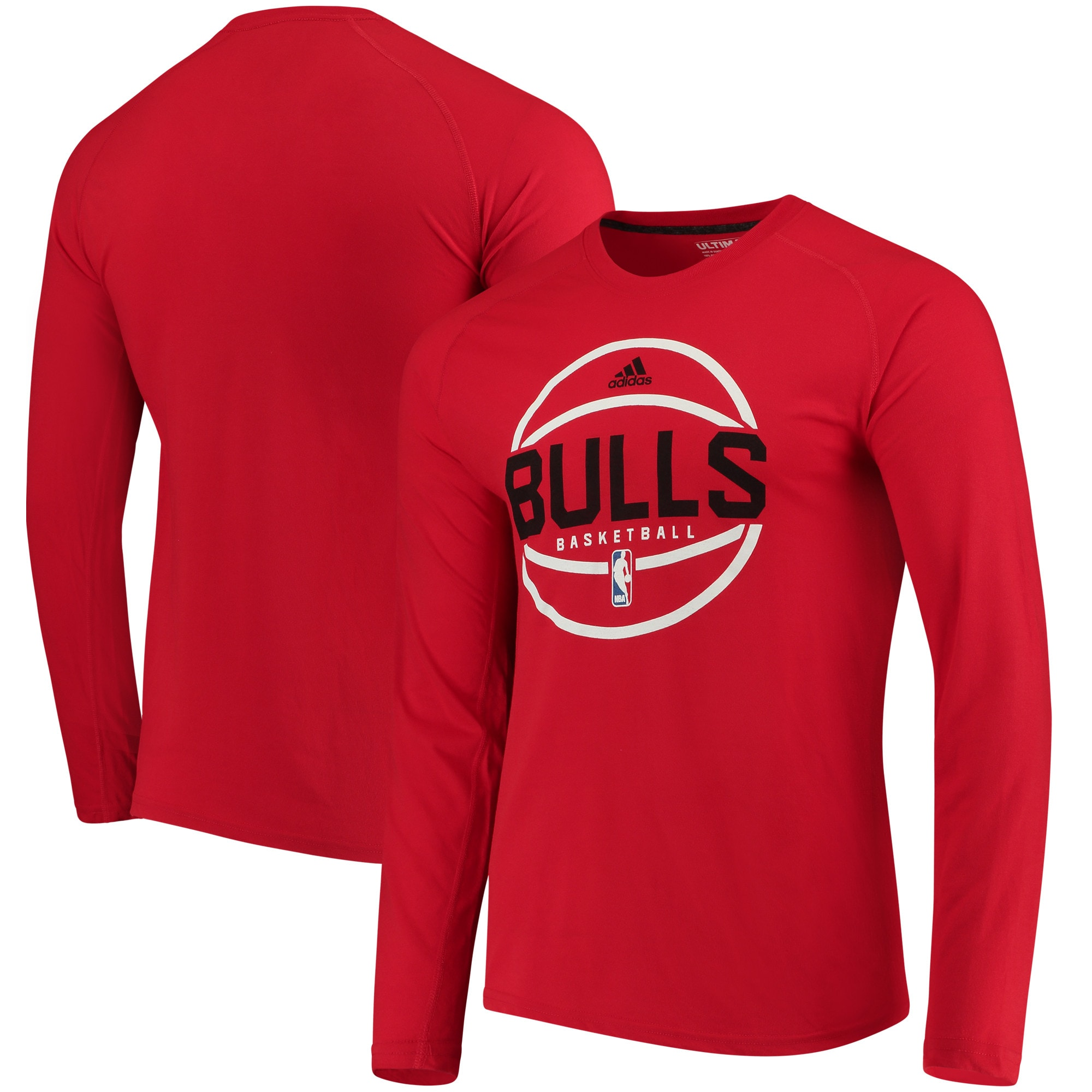 Chicago Bulls adidas On-Court Ultimate climalite Long Sleeve T-Shirt - Red