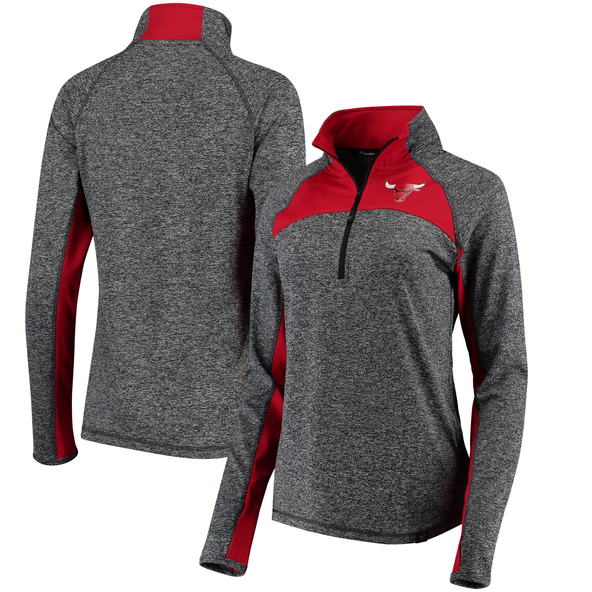 Chicago Bulls Fanatics Branded Women's Static Quarter-Zip Pullover Jacket - Heathered Gray