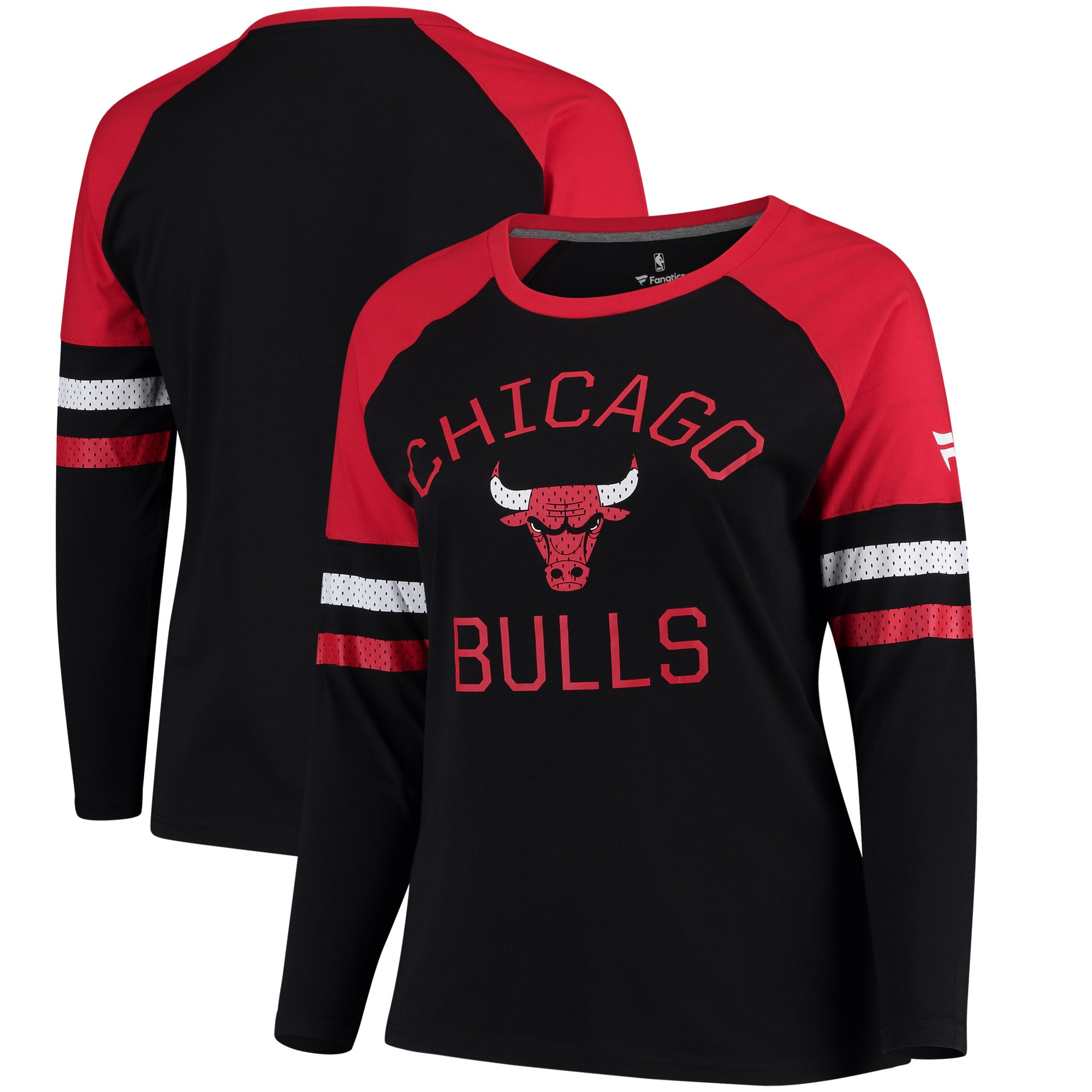 Chicago Bulls Fanatics Branded Women's Plus Sizes Iconic Long Sleeve T-Shirt - Black