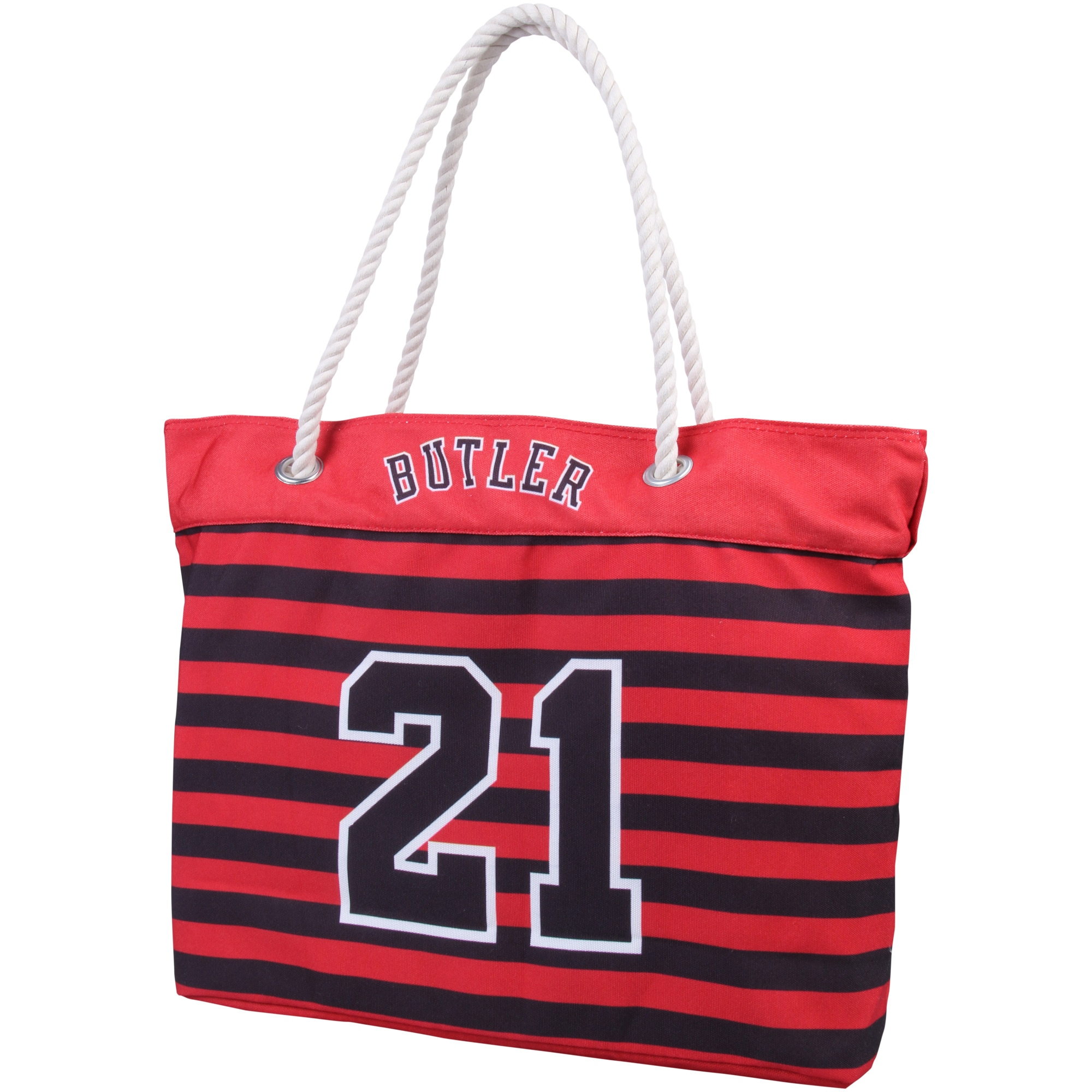 Jimmy Butler Chicago Bulls Women's Player Nautical Stripe Tote Bag - Red