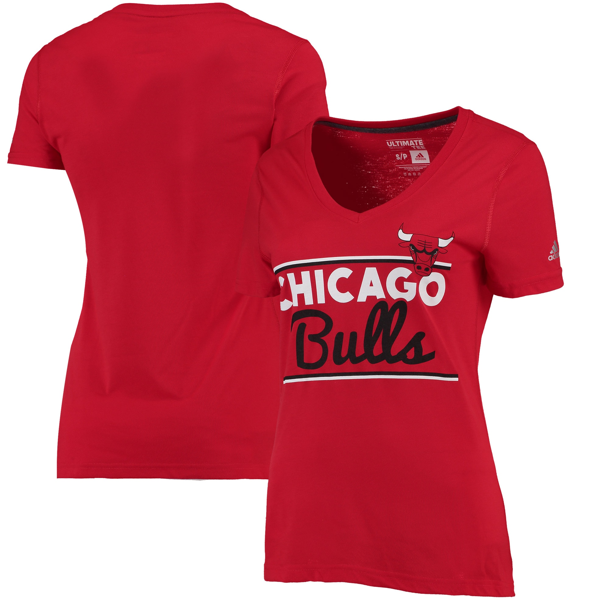 Chicago Bulls adidas Women's Double Bar Ultimate climalite T-Shirt - Red