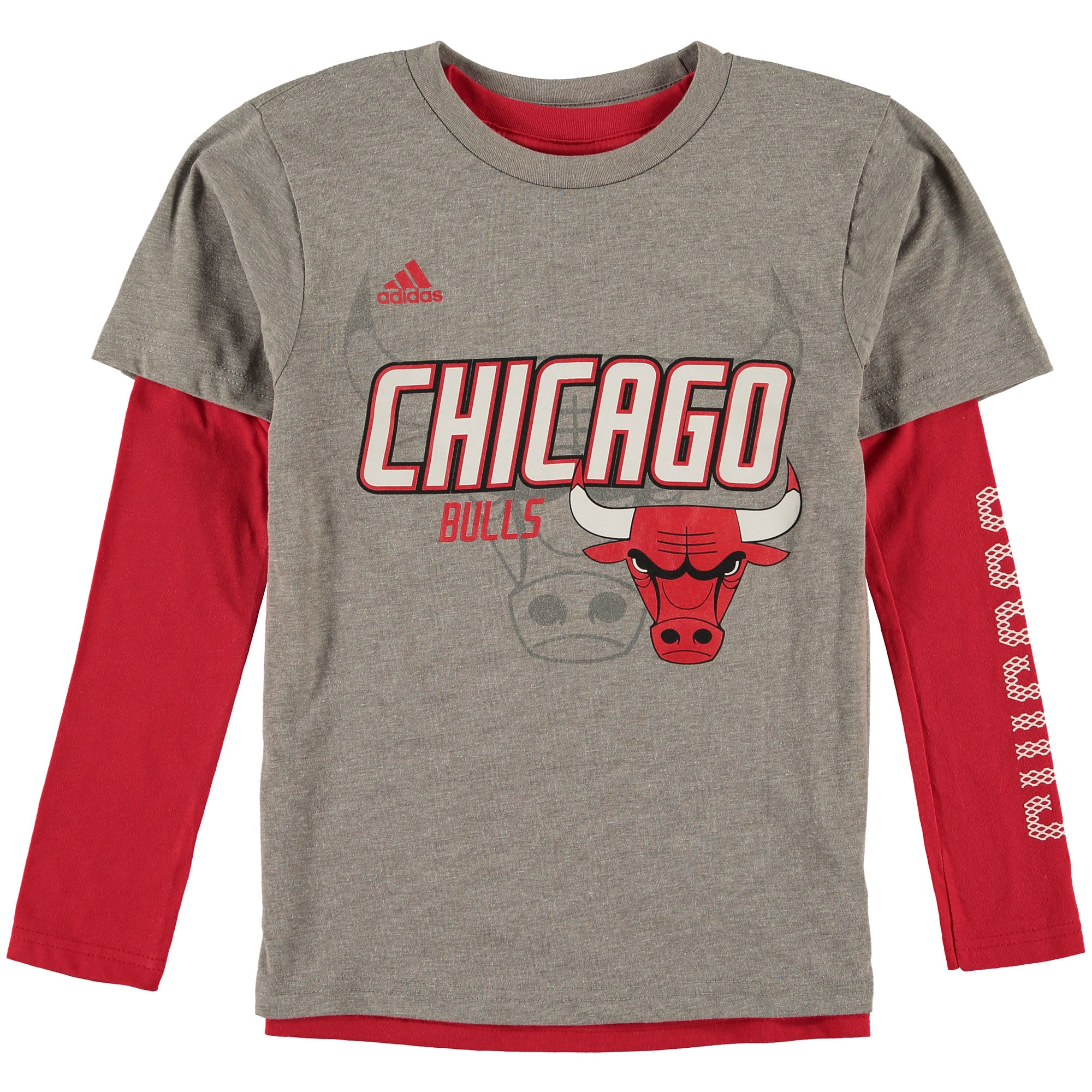 Chicago Bulls adidas Youth 3-in-1 Combo T-Shirt Set - Gray/Red