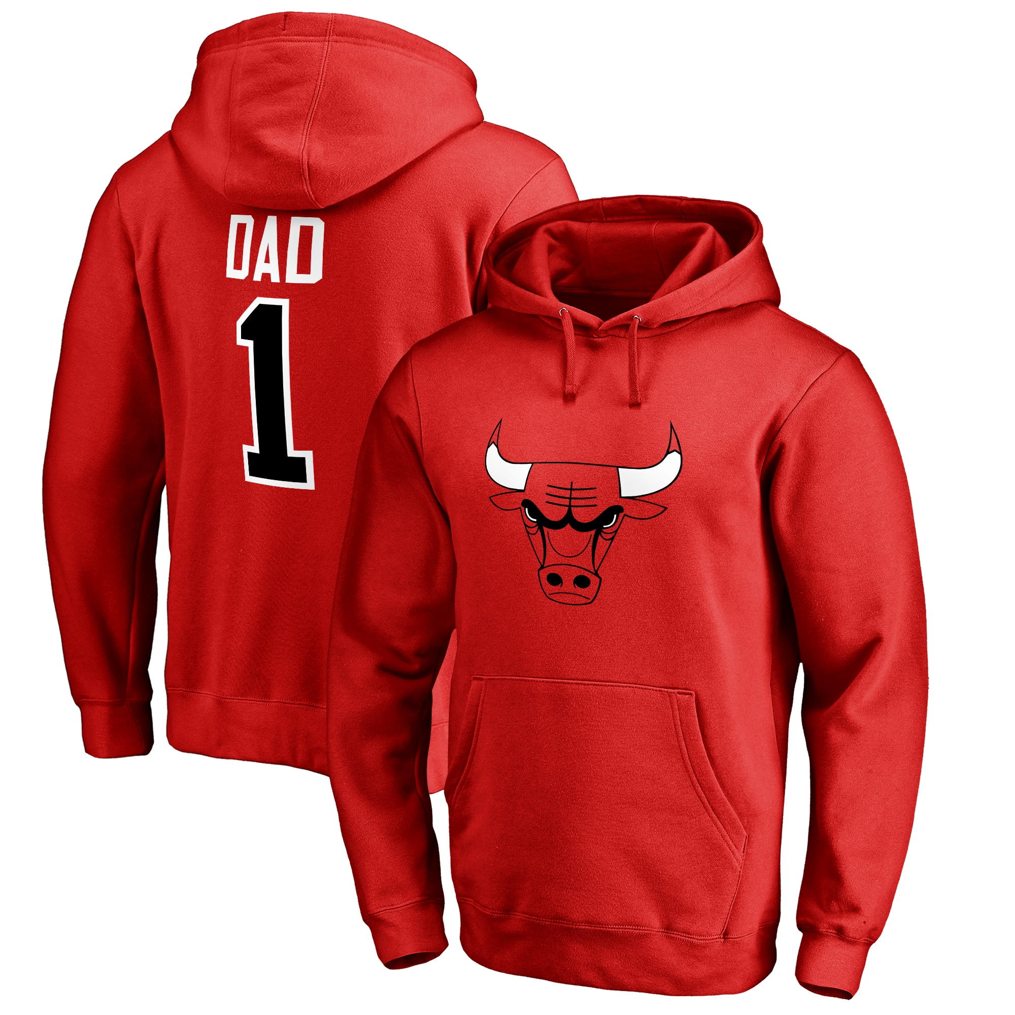 Chicago Bulls #1 Dad Pullover Hoodie - Red
