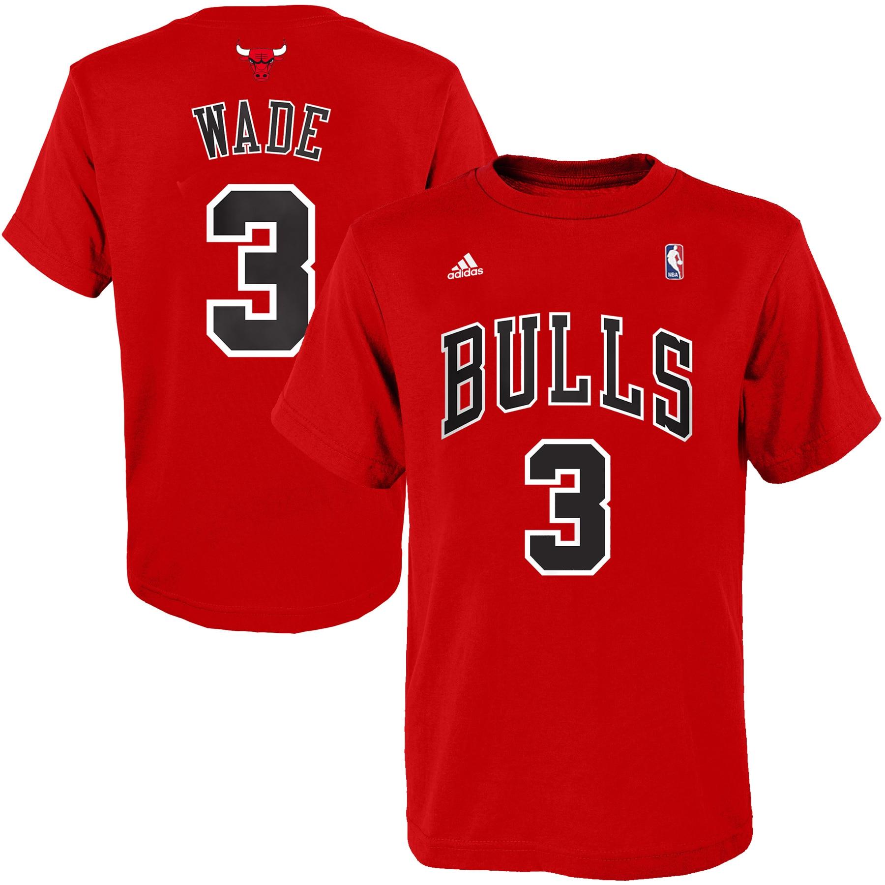 Dwyane Wade Chicago Bulls adidas Youth Game Time Name & Number T-Shirt - Red
