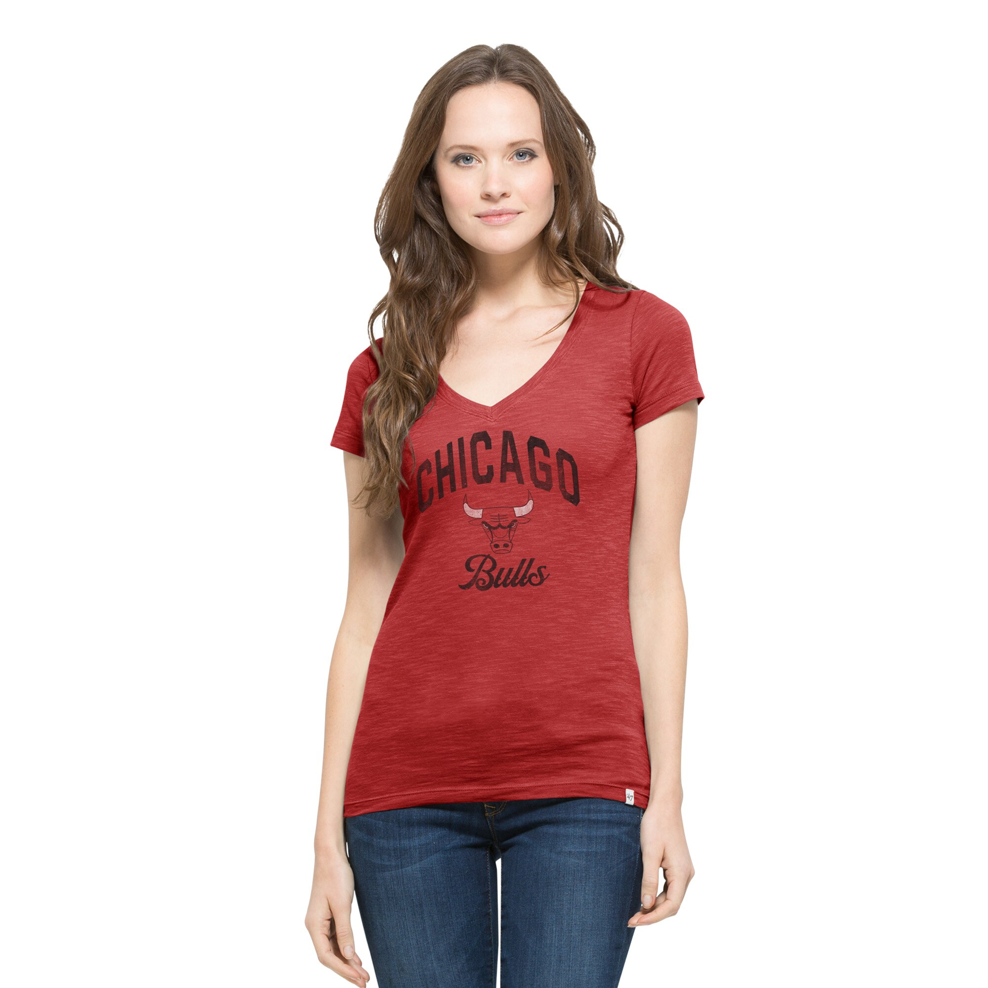 Chicago Bulls '47 Women's Current Day Primary Logo Scrum V-Neck T-Shirt - Red