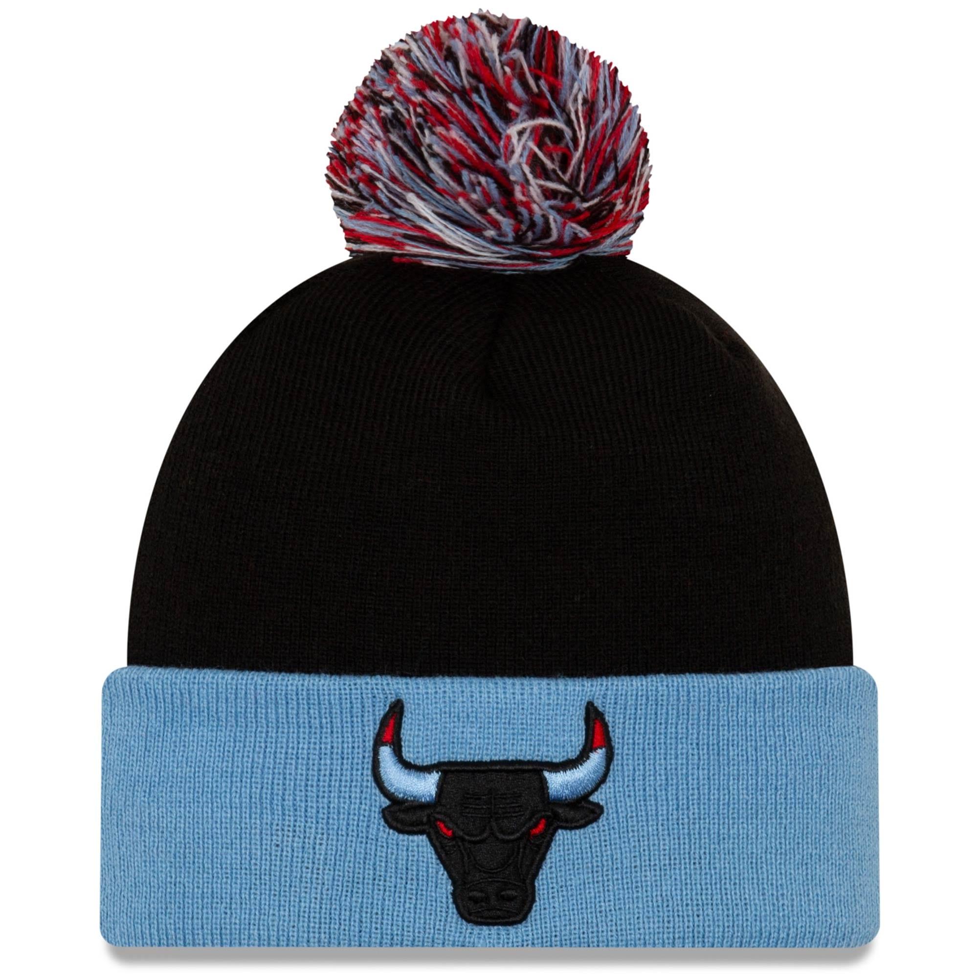 Chicago Bulls New Era Cuffed Knit Hat with Pom - Black/Light Blue