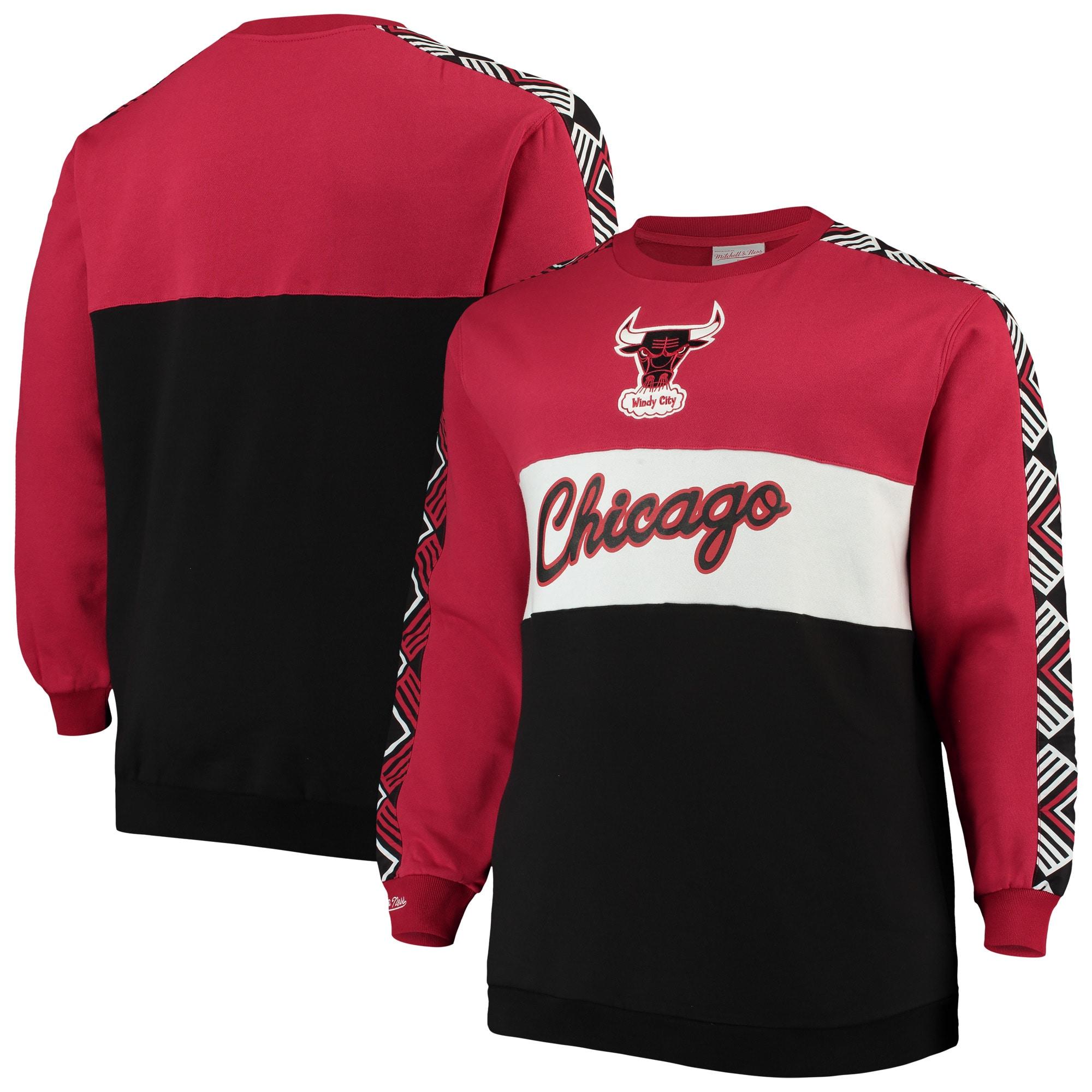 Chicago Bulls Mitchell & Ness Hardwood Classics Big & Tall Leading Scorer Fleece Pullover Sweatshirt - Red/Black