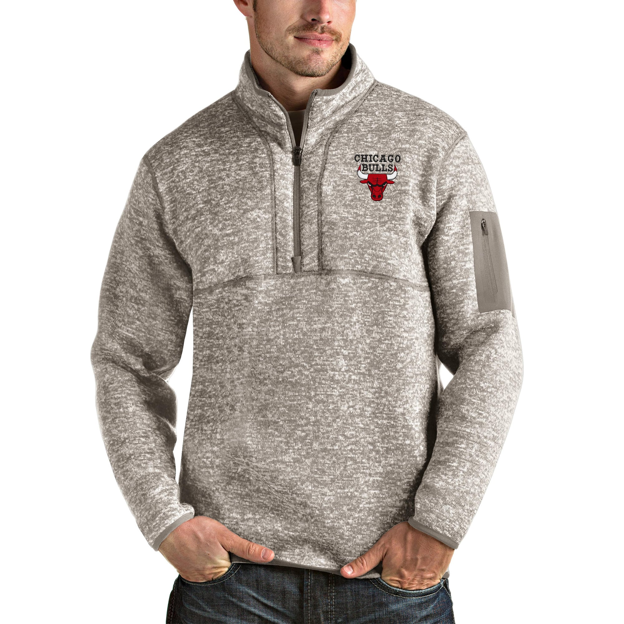 Chicago Bulls Antigua Fortune Quarter-Zip Pullover Jacket - Natural