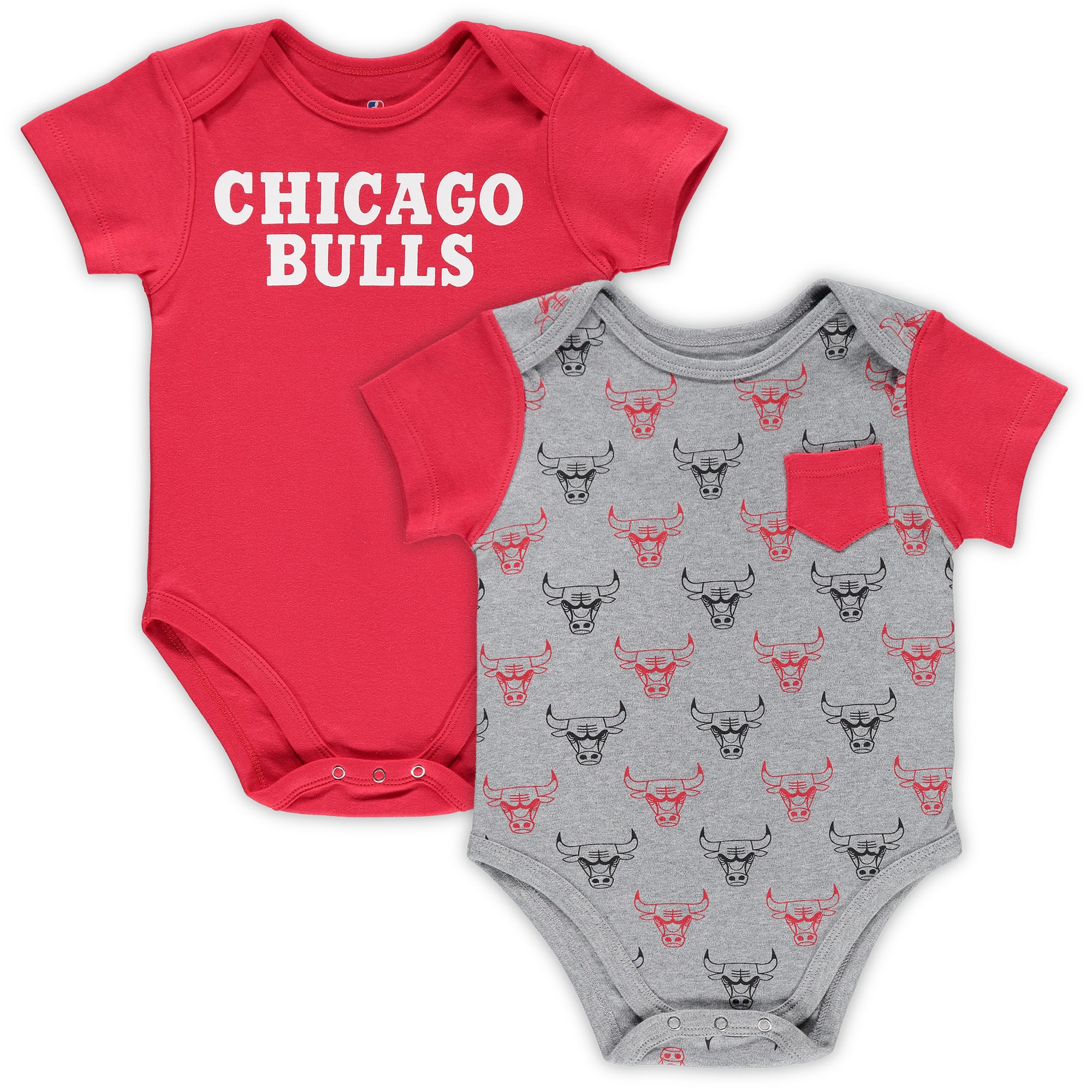 Chicago Bulls Infant Little Baller 2-Pack Bodysuit Set - Red/Heathered Gray