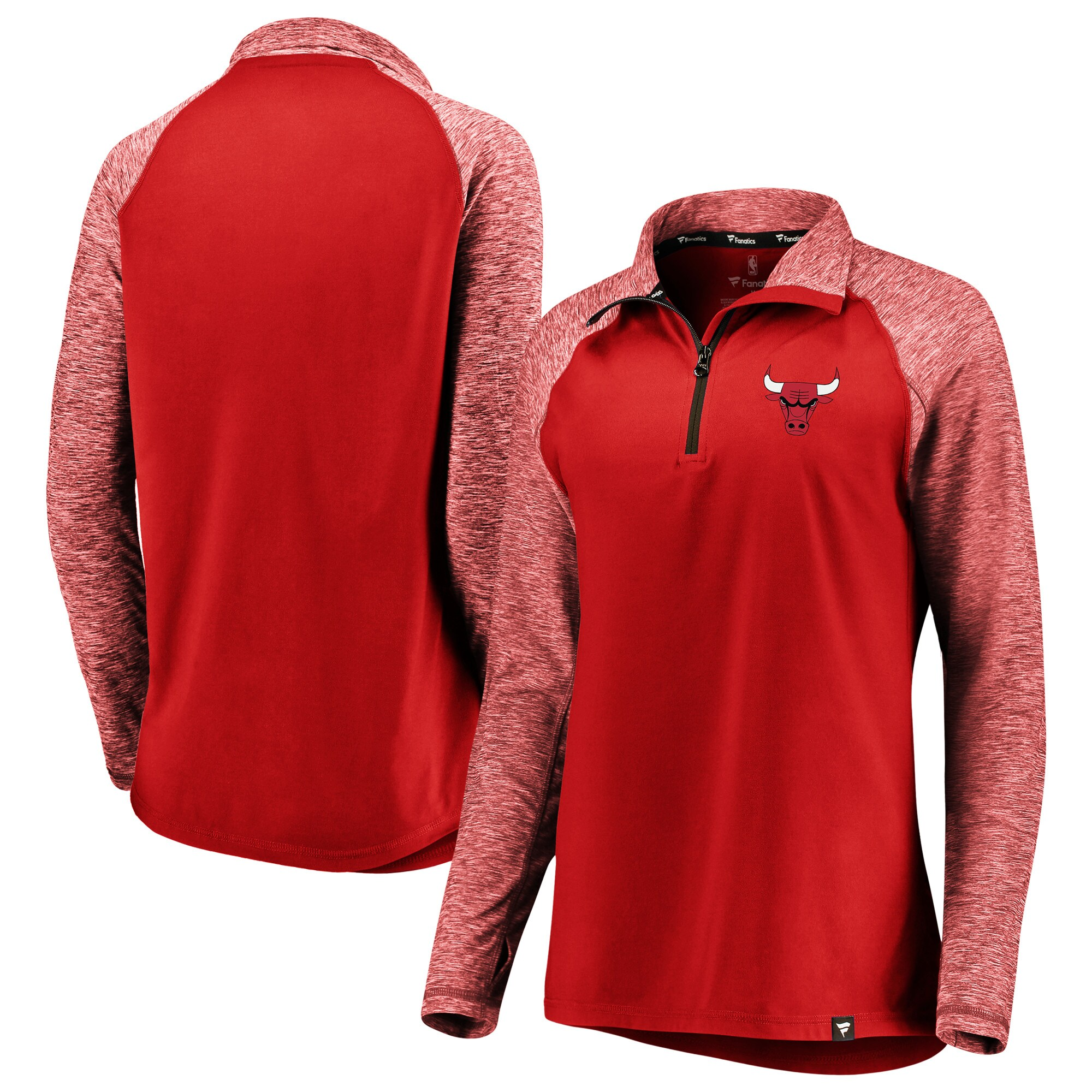 Chicago Bulls Fanatics Branded Women's Made to Move Static Performance Raglan Sleeve Quarter-Zip Pullover Jacket - Red/Heathered Red