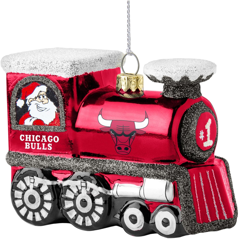 Chicago Bulls Blown Glass Team Logo Train Ornament