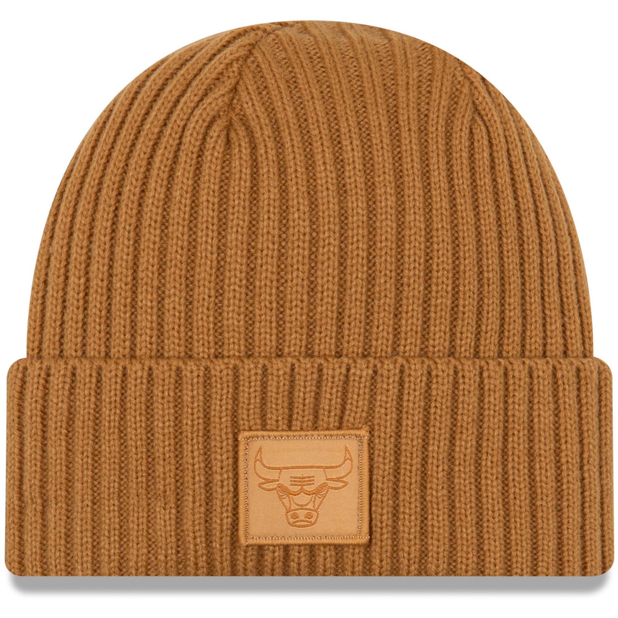 Chicago Bulls New Era Label Cuffed Knit Hat - Tan