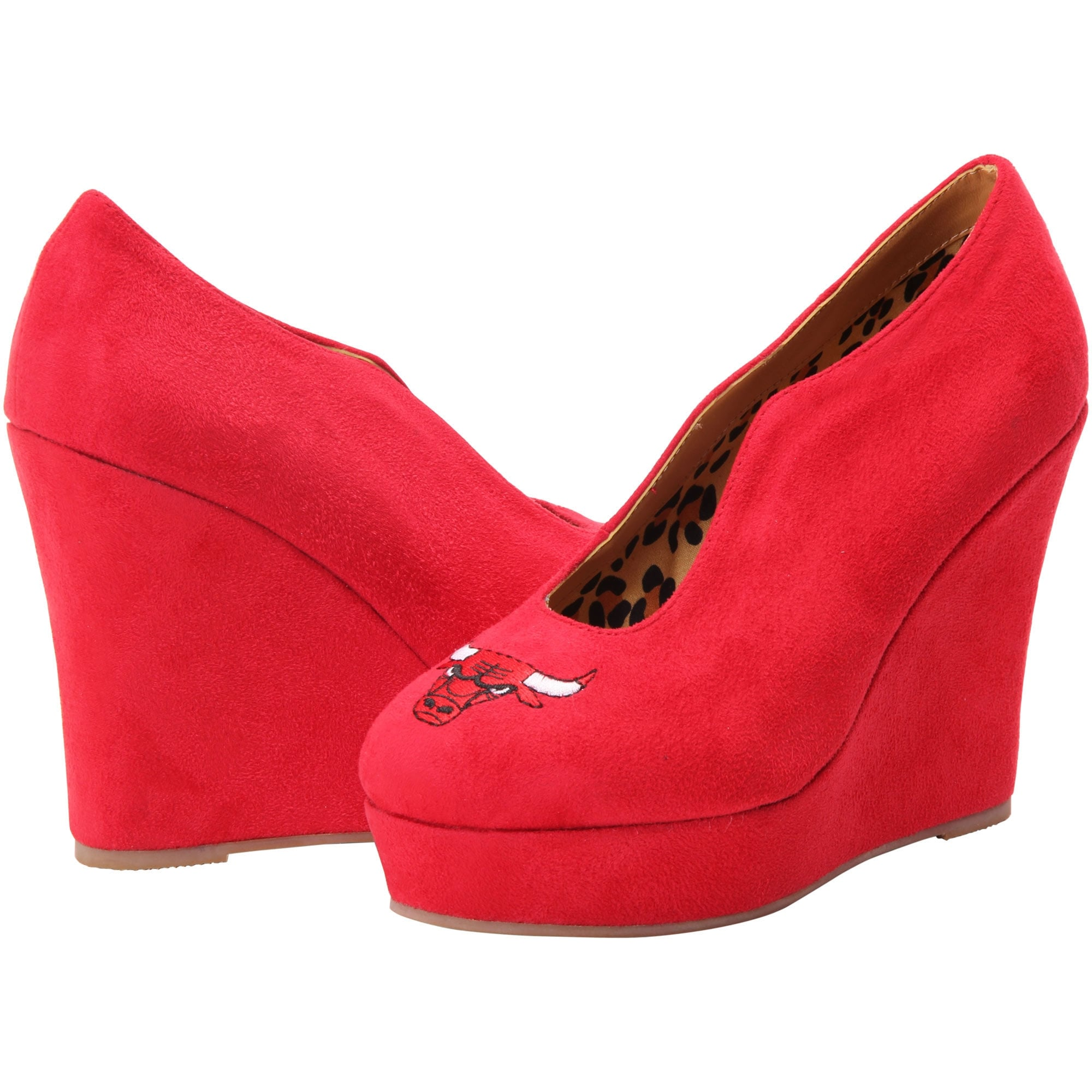 Chicago Bulls Cuce Shoes Women's Spirited Wedge Pumps - Red