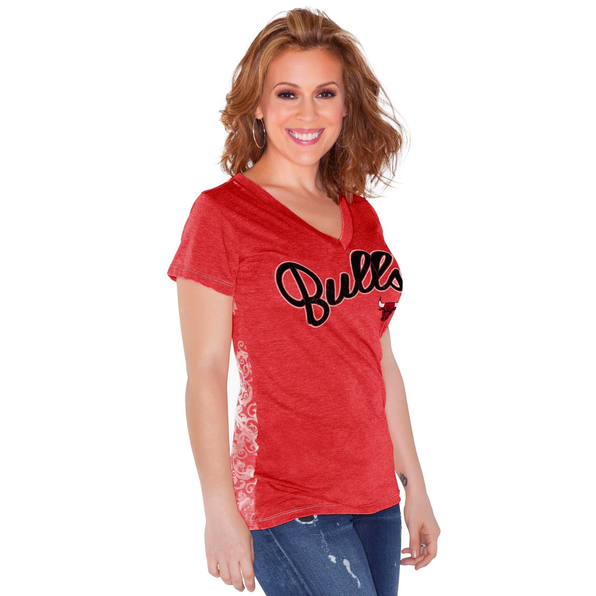 Chicago Bulls Touch by Alyssa Milano Women's Audrey V-Neck T-Shirt - Red