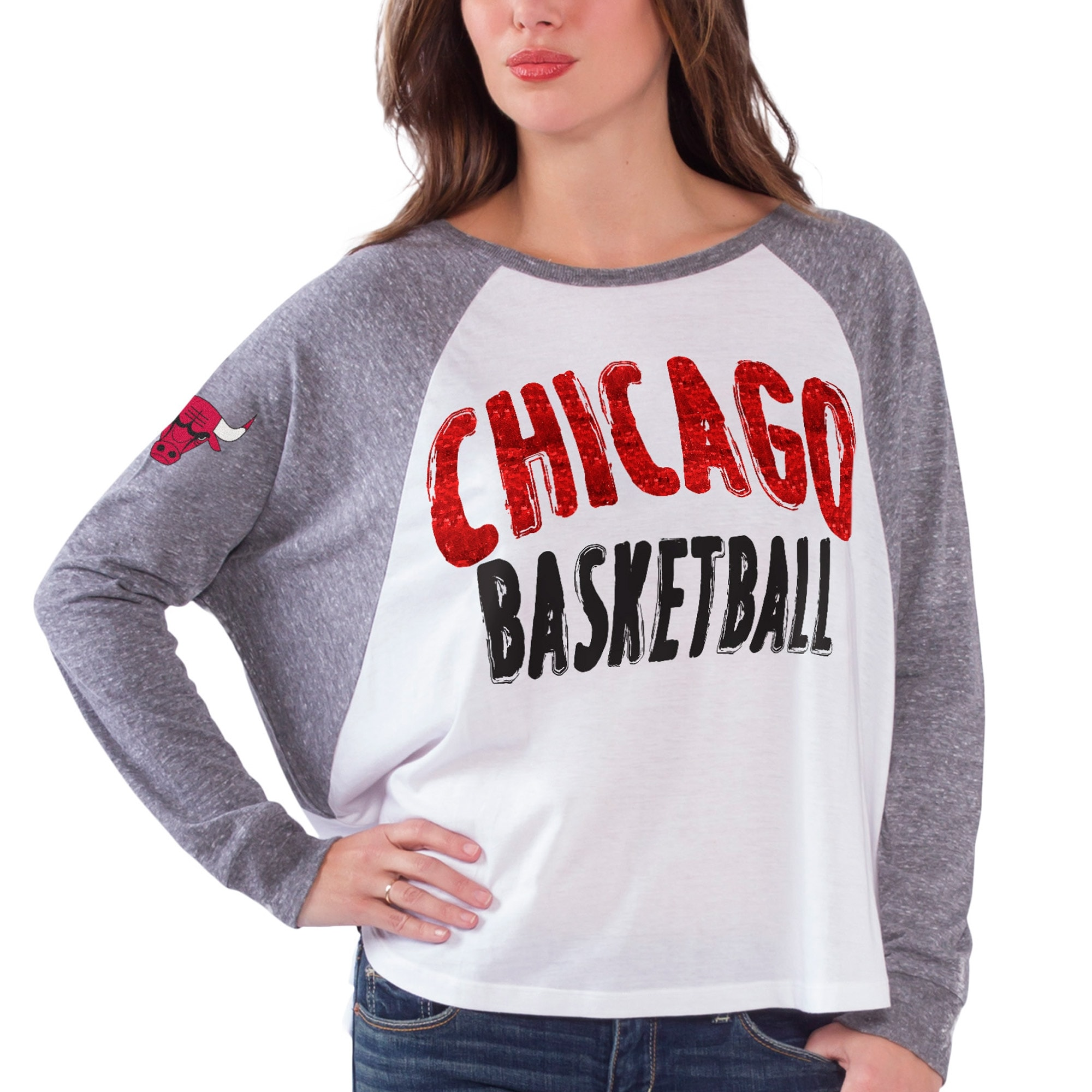 Chicago Bulls Women's Triple A Long Sleeve T-Shirt - White/Gray