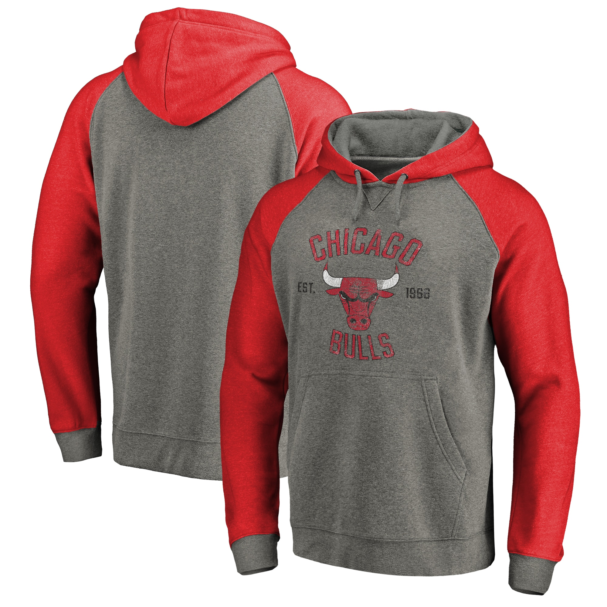 Chicago Bulls Fanatics Branded Heritage Big and Tall Tri-Blend Raglan Pullover Hoodie - Heathered Gray