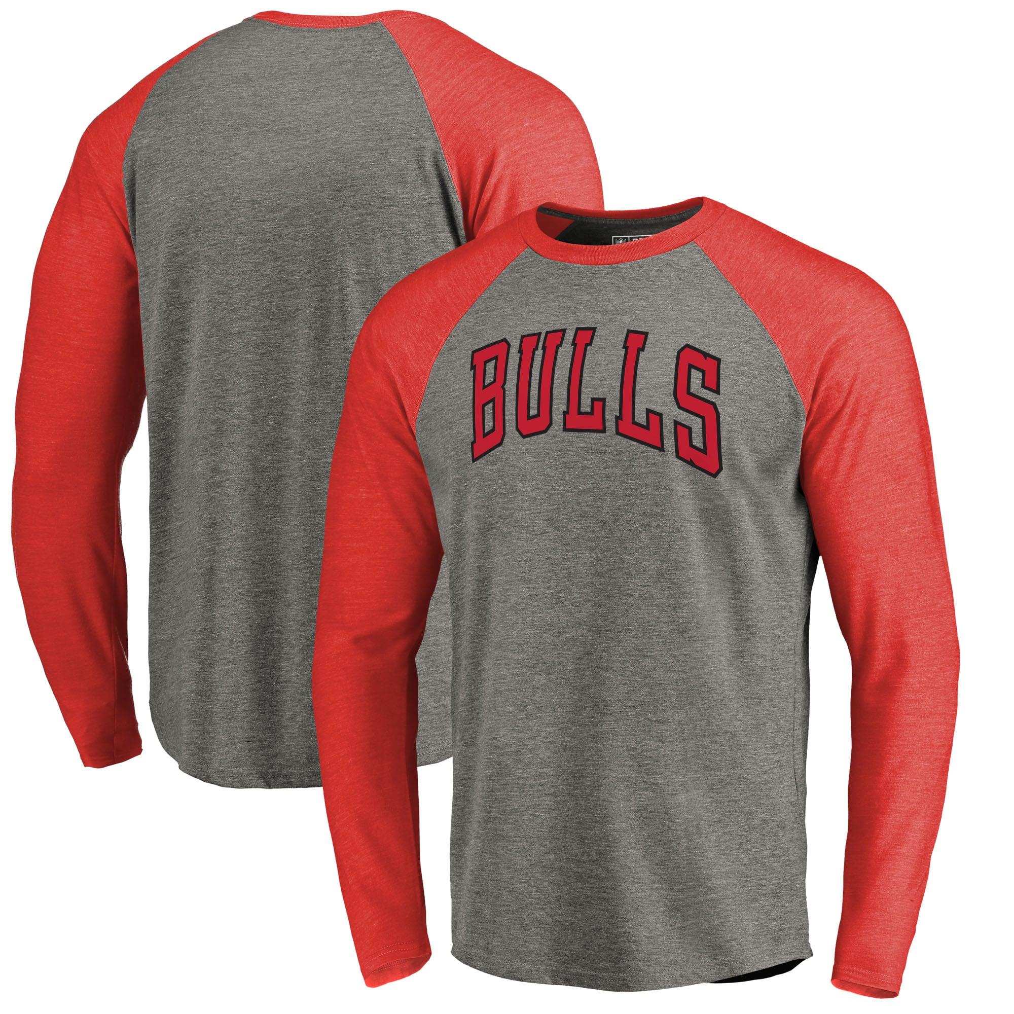 Chicago Bulls Fanatics Branded Primary Wordmark Tri-Blend Long Sleeve T-Shirt - Heathered Gray