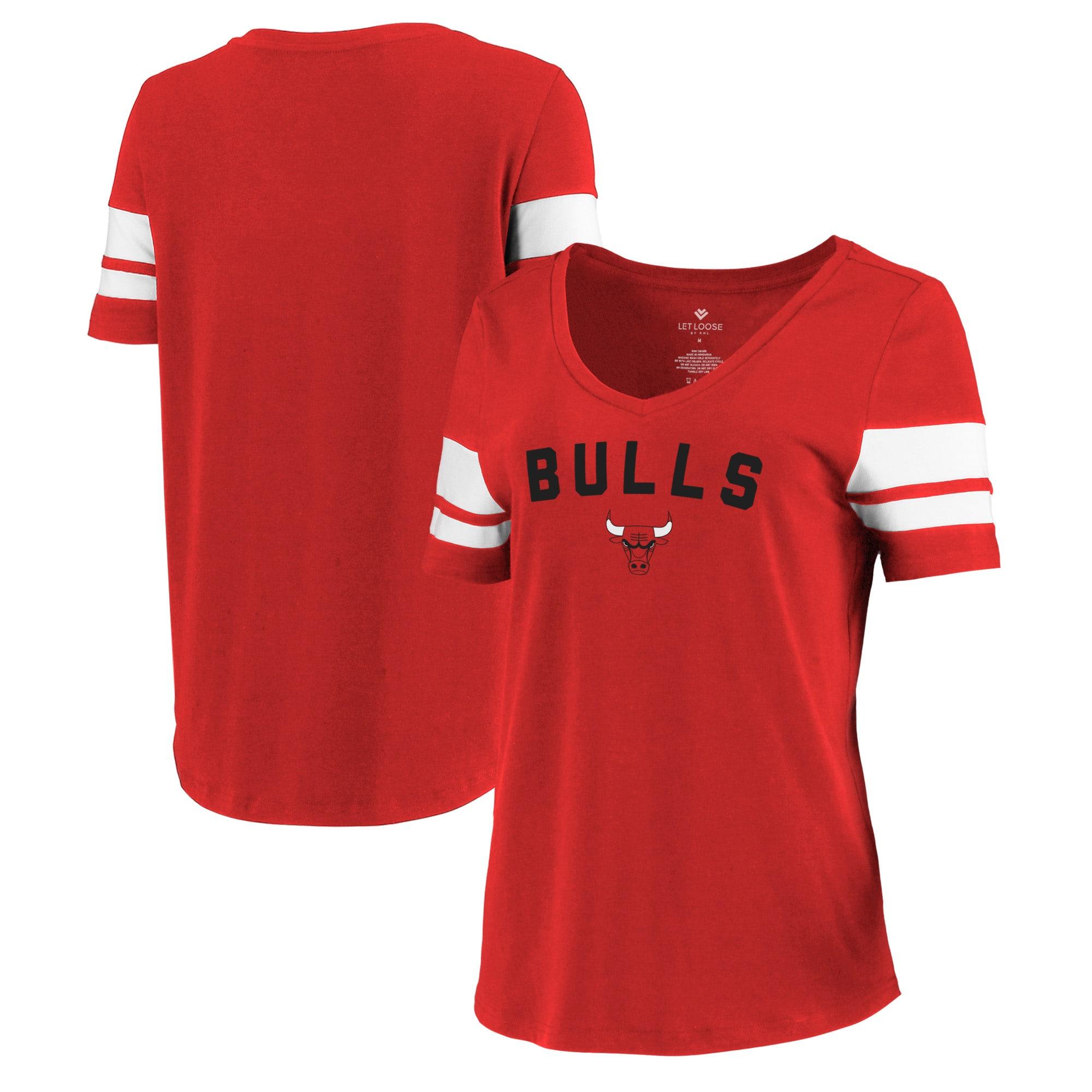 Chicago Bulls Let Loose by RNL Women's Scramble Two Stripe Tri-Blend T-Shirt - Red