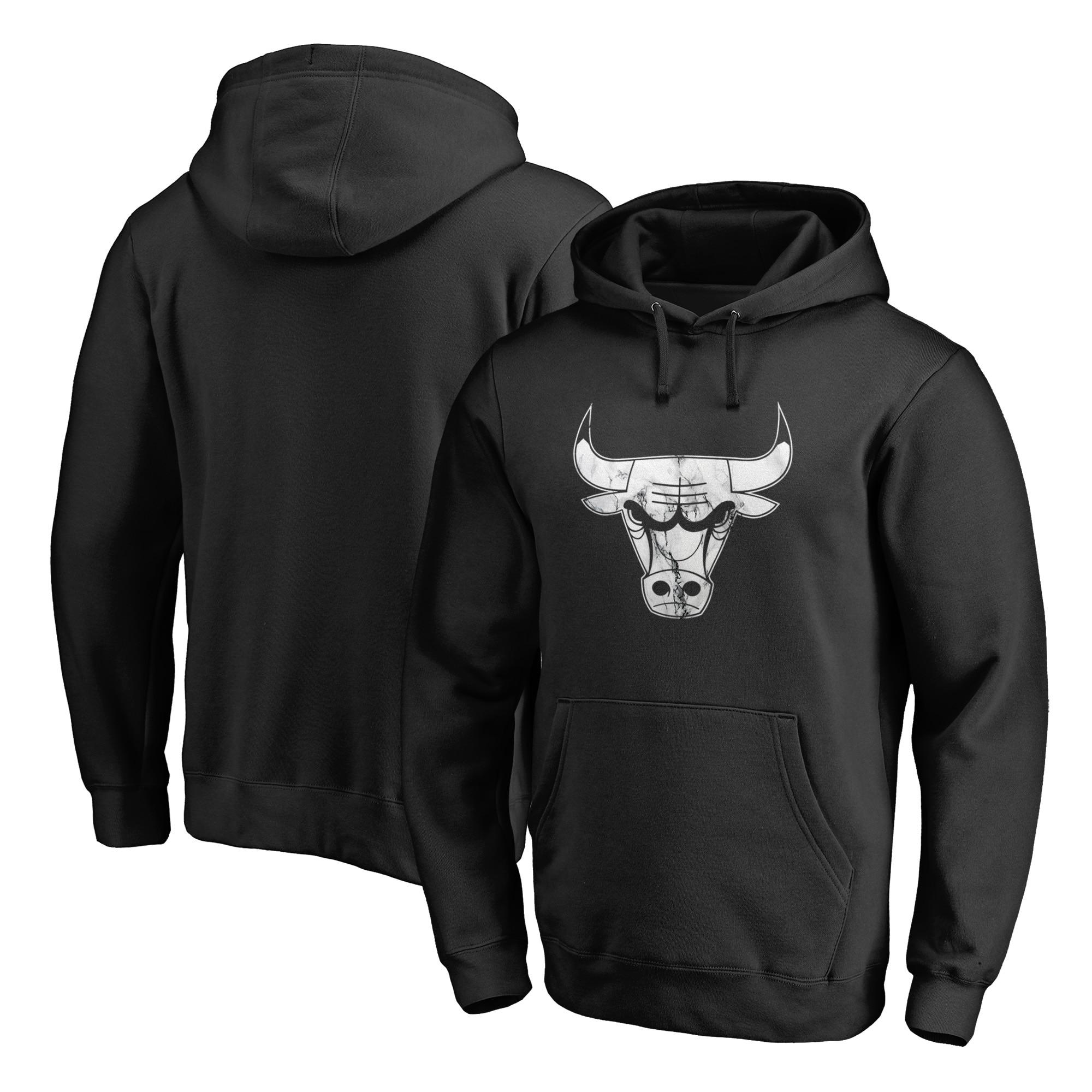 Chicago Bulls Fanatics Branded Marble Logo Pullover Hoodie - Black