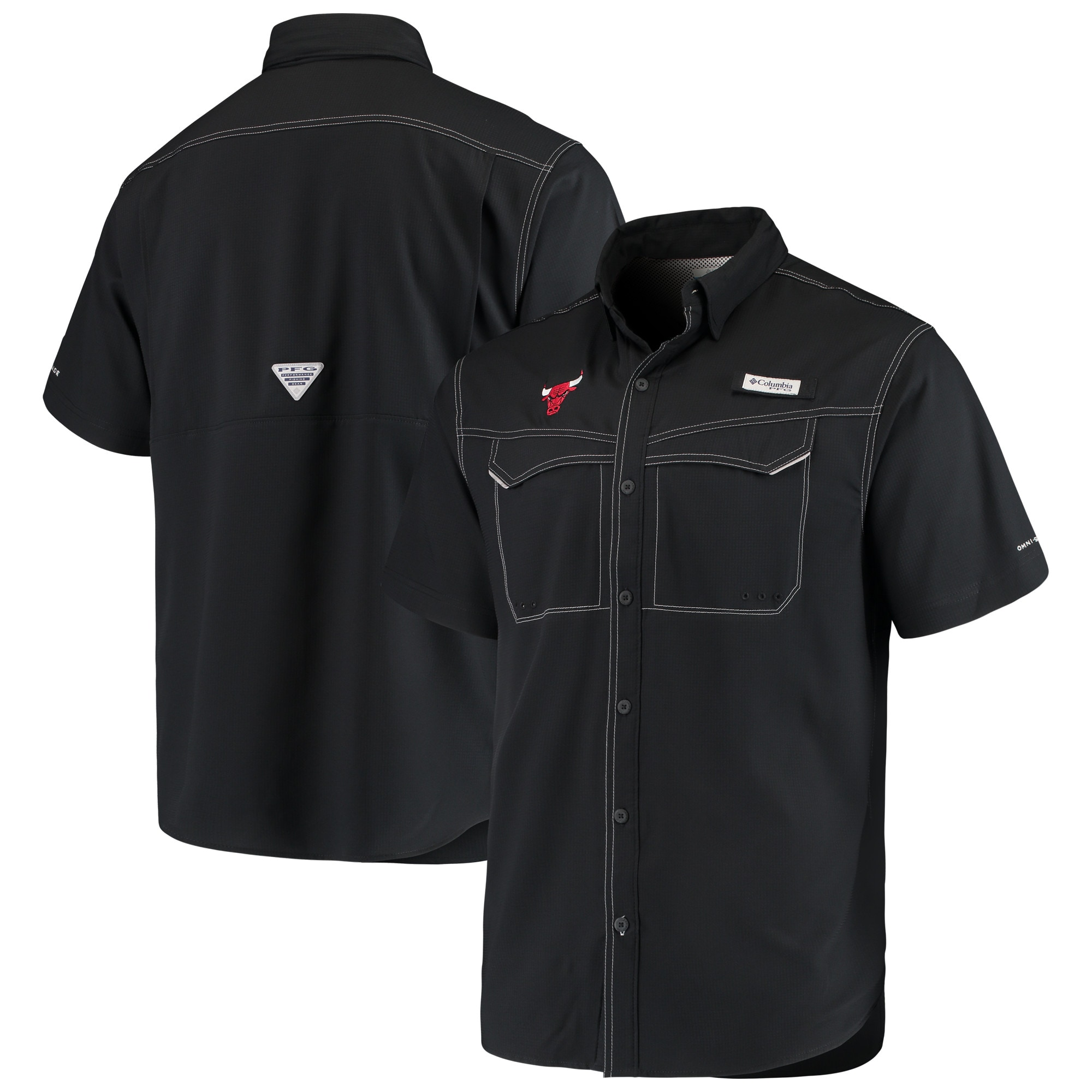 Chicago Bulls Columbia Low Drag Offshore Omni-Shade Button-Up Shirt - Black