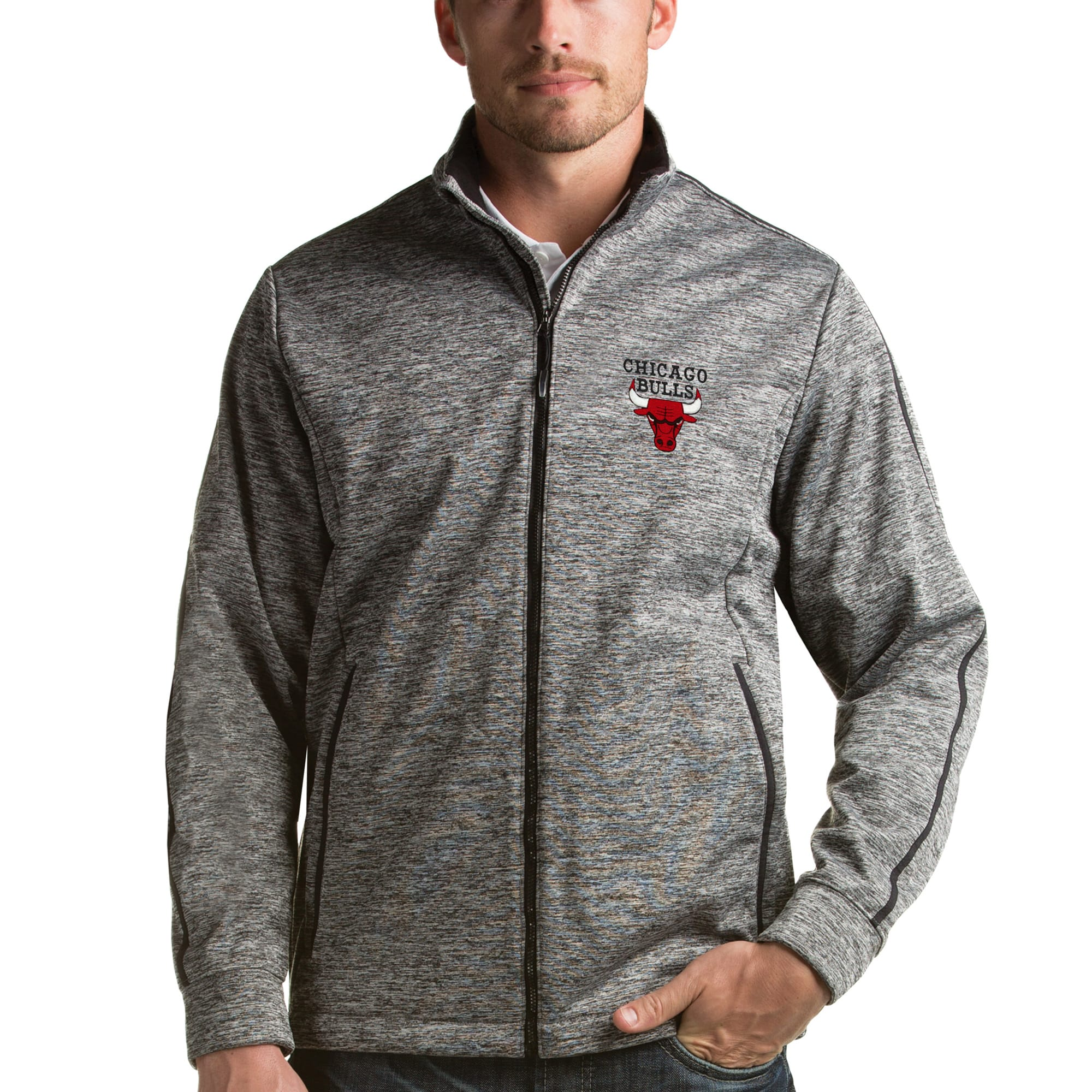 Chicago Bulls Antigua Golf Full-Zip Jacket - Heathered Black
