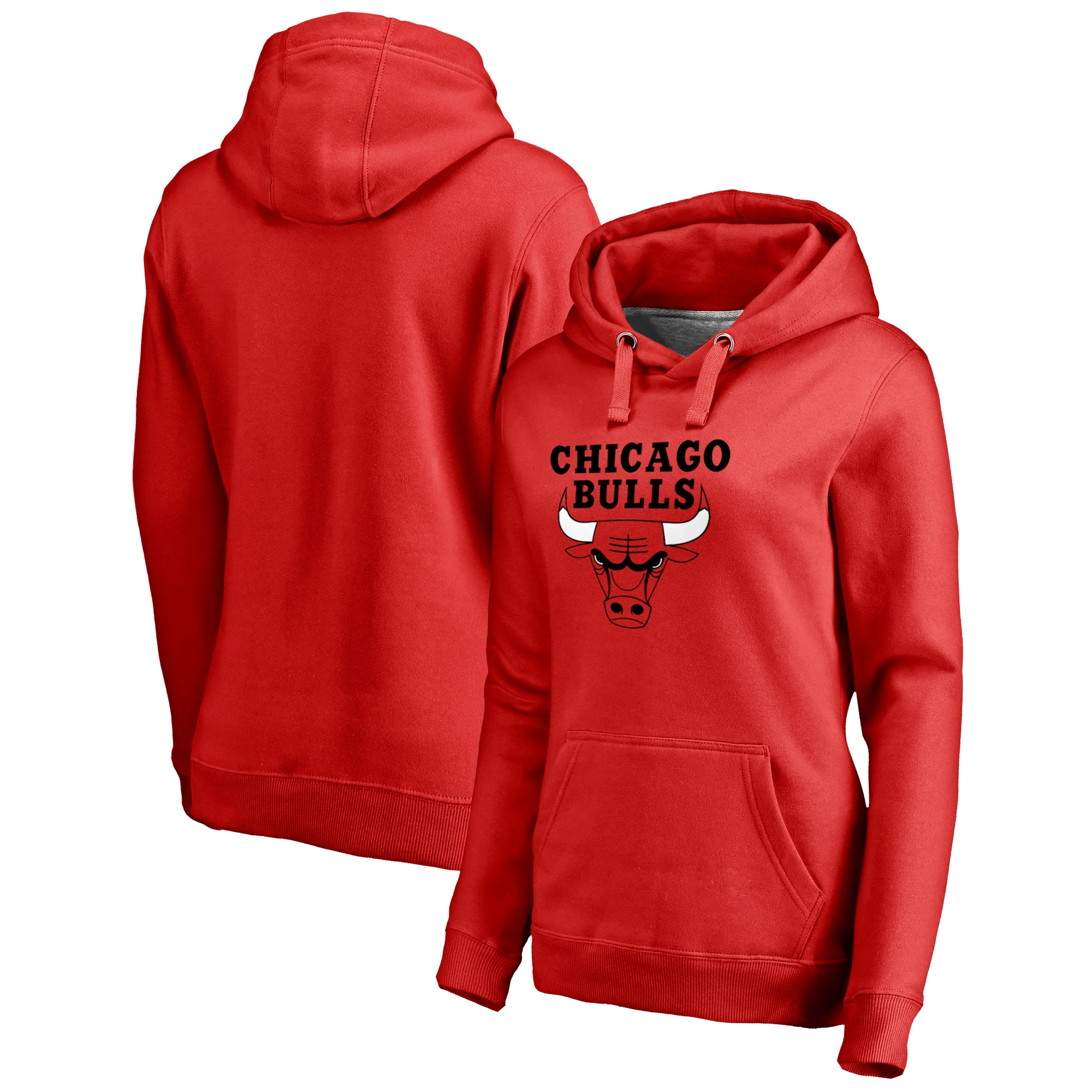 Chicago Bulls Fanatics Branded Women's Plus Size Primary Logo Pullover Hoodie - Red