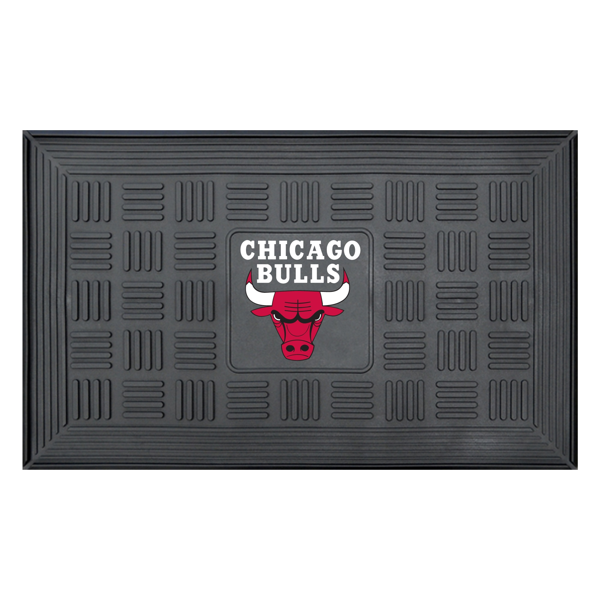 "Chicago Bulls 19"" x 30"" Vinyl Medallion Door Mat - Black"