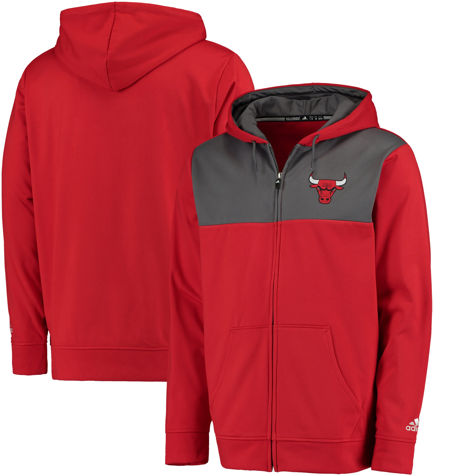 Chicago Bulls adidas 2016 Tip-Off Full-Zip Hoodie - Red/Gray