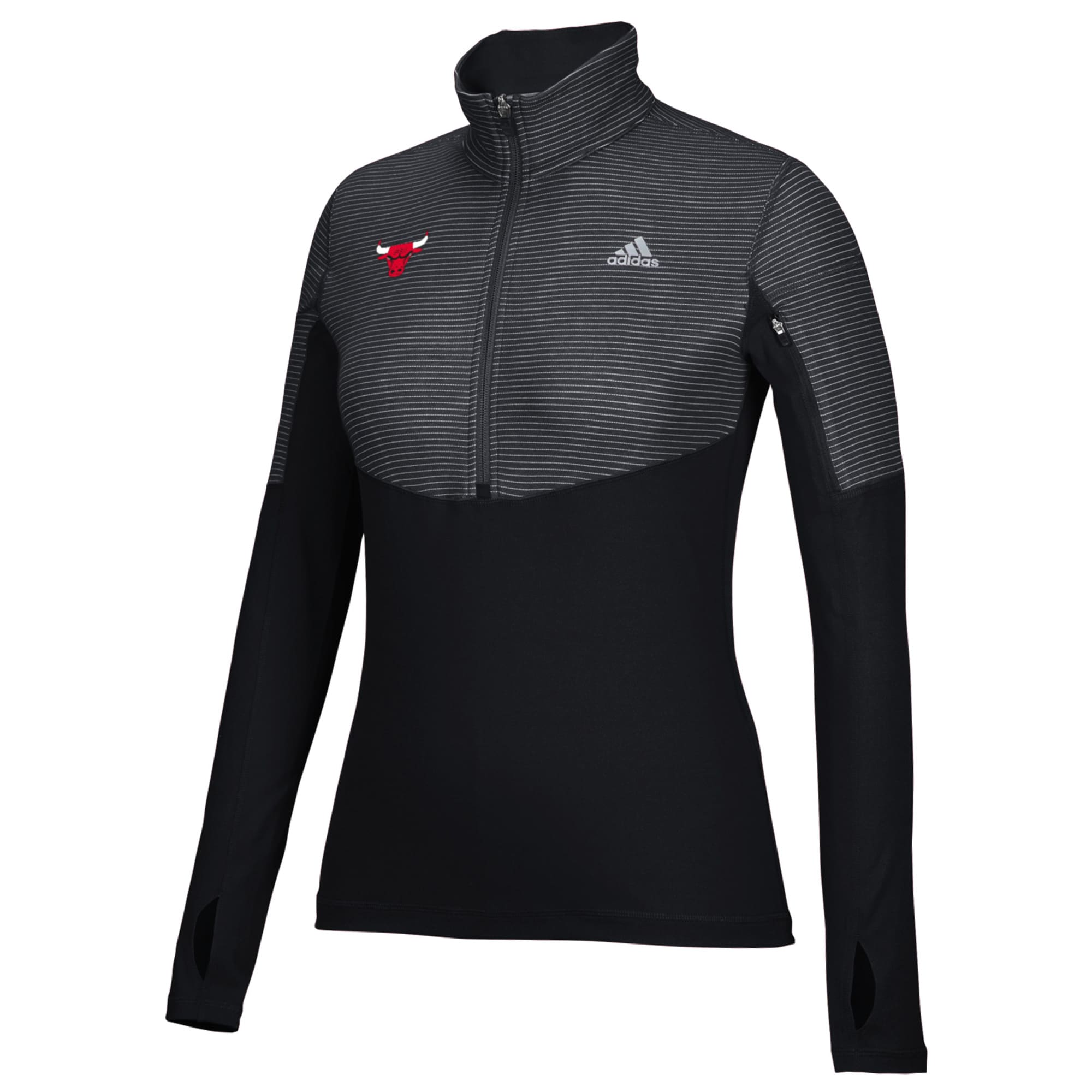 Chicago Bulls adidas Women's Team Logo Lightweight Performance Half-Zip Jacket - Black