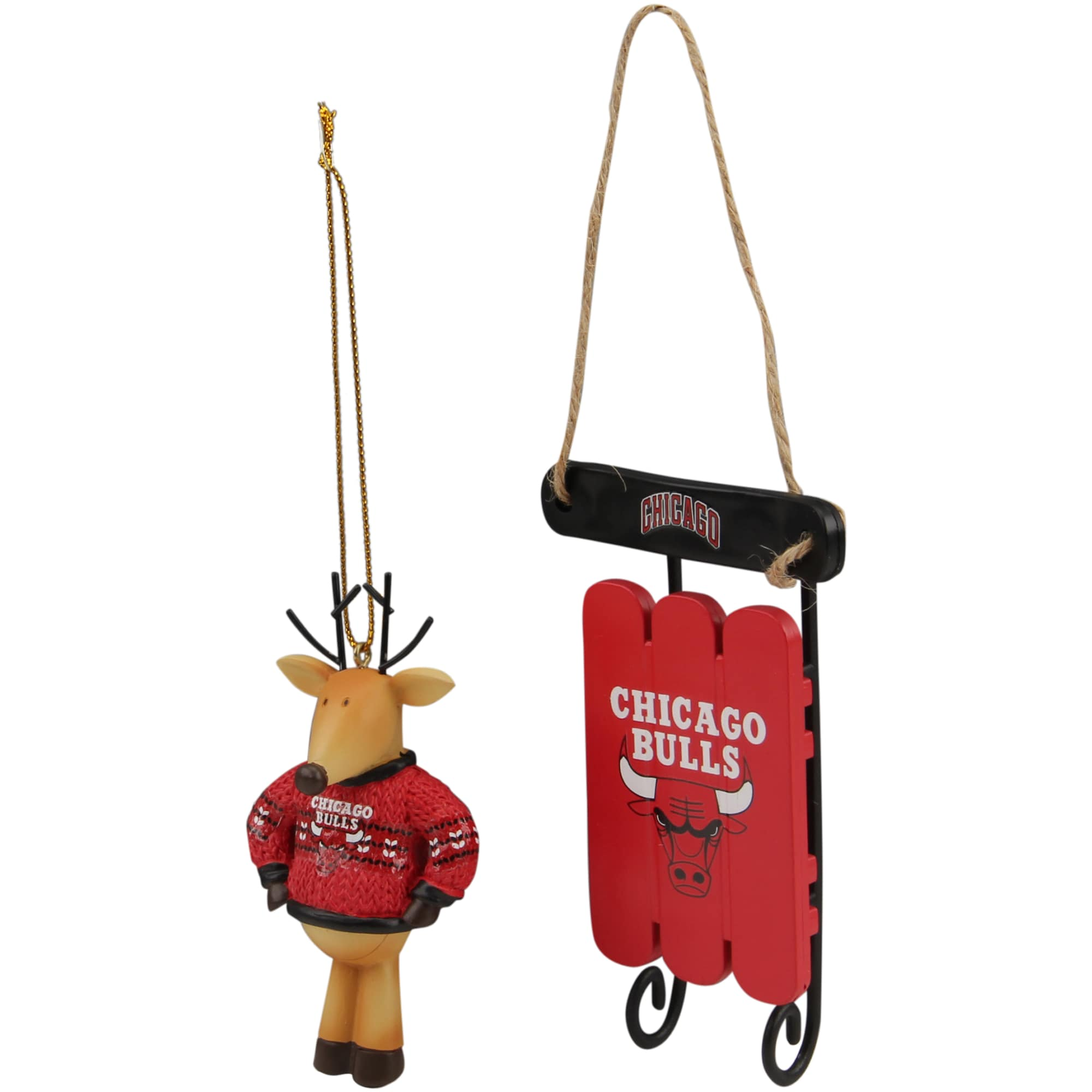 Chicago Bulls Reindeer with Sweater & Sleigh Ornament 2-Pack Set