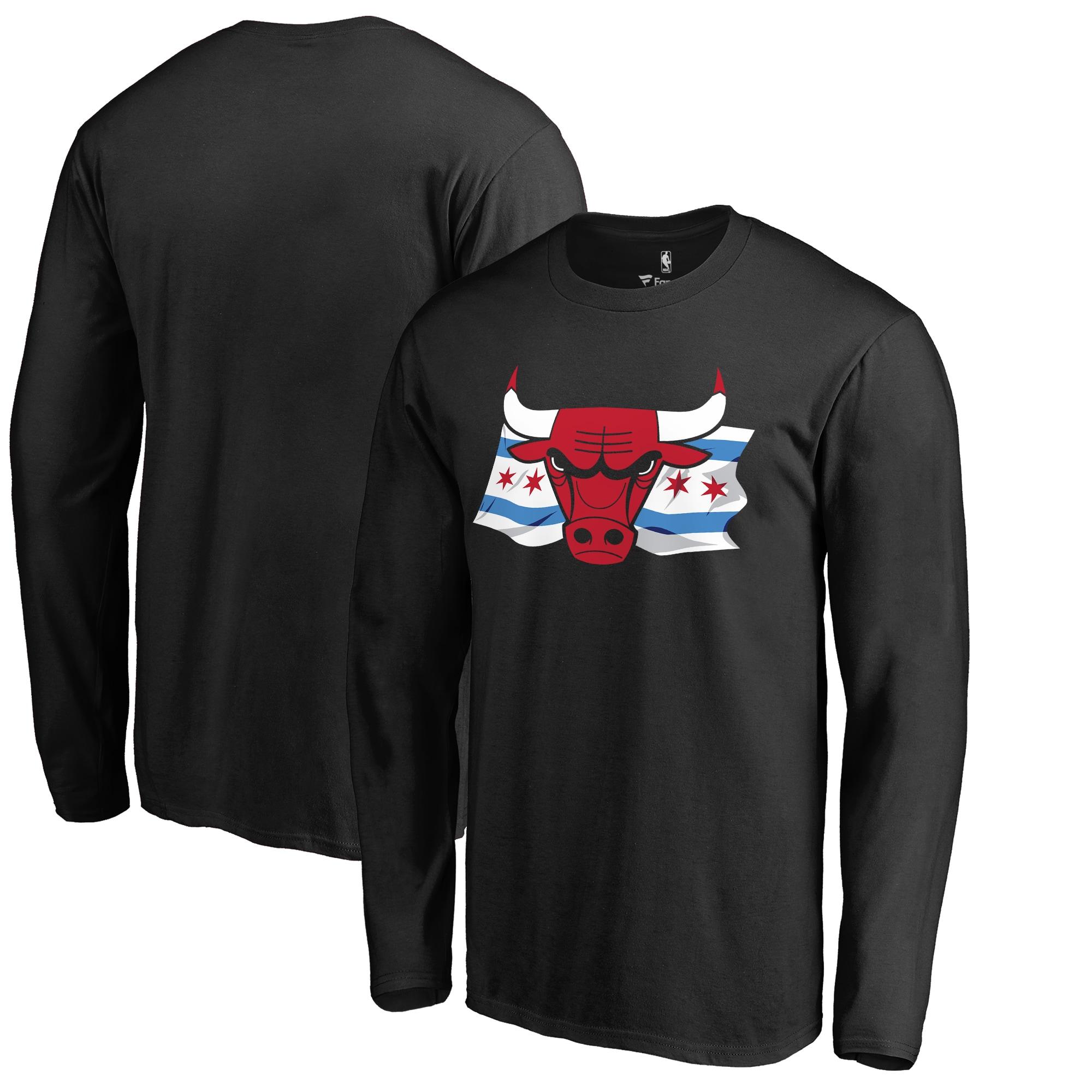 Chicago Bulls Fanatics Branded Hometown Collection Chicago Flag Big & Tall Long Sleeve T-Shirt - Black