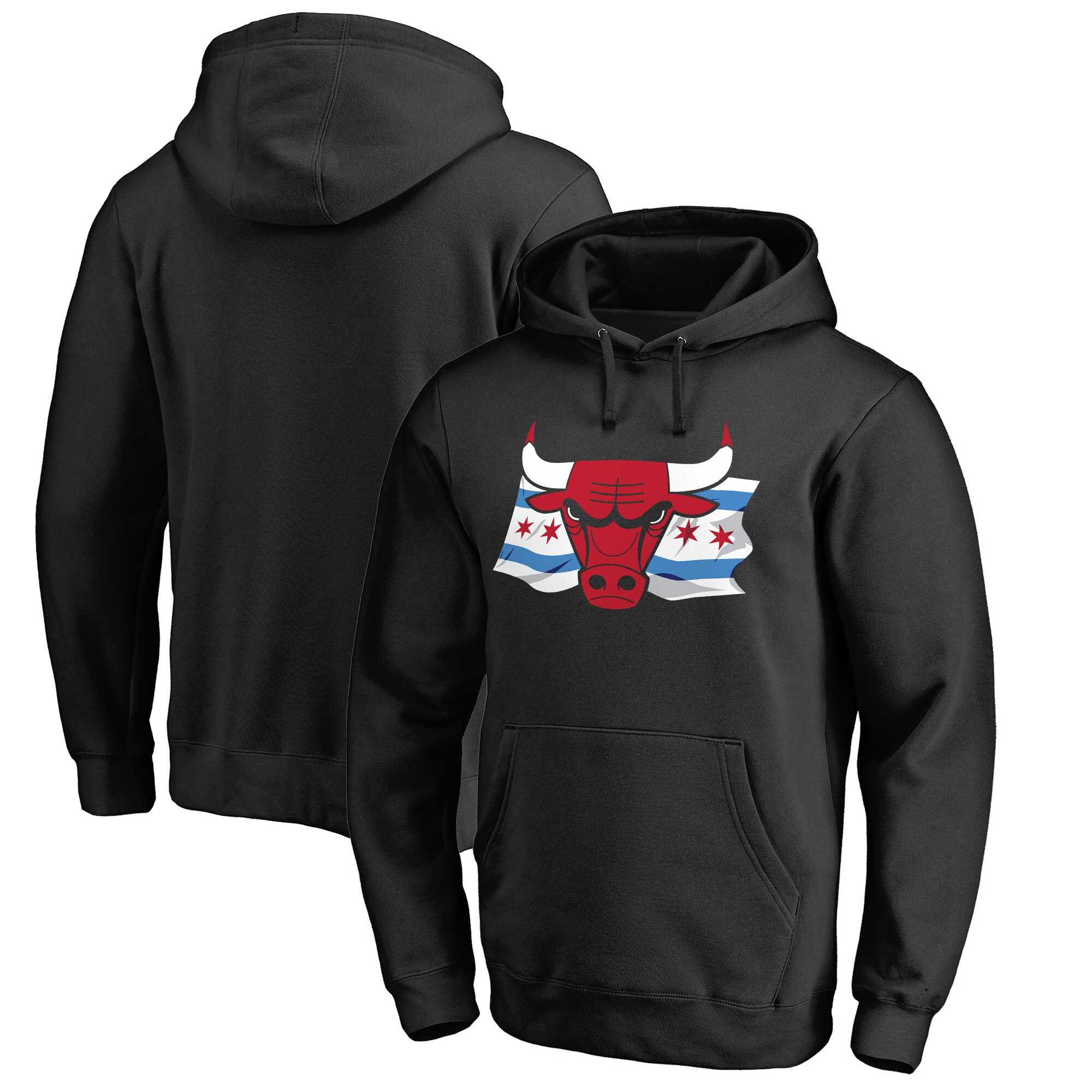 Chicago Bulls Fanatics Branded Hometown Collection Chicago Flag Pullover Hoodie - Black