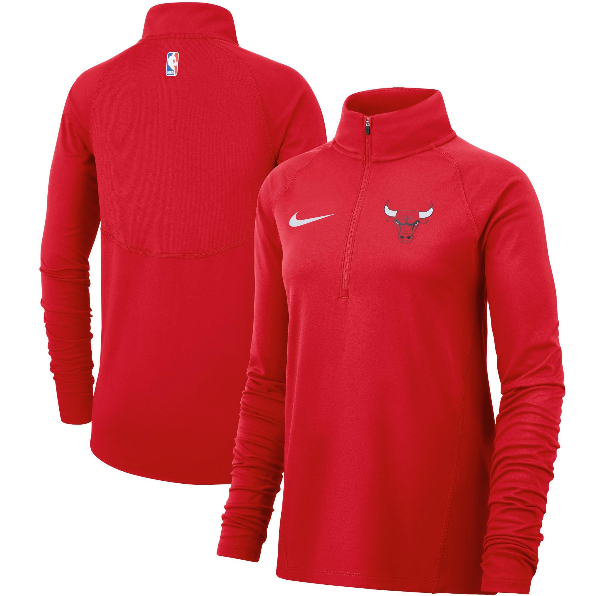 Chicago Bulls Nike Women's Element Performance Raglan Sleeve Half-Zip Pullover Jacket - Red