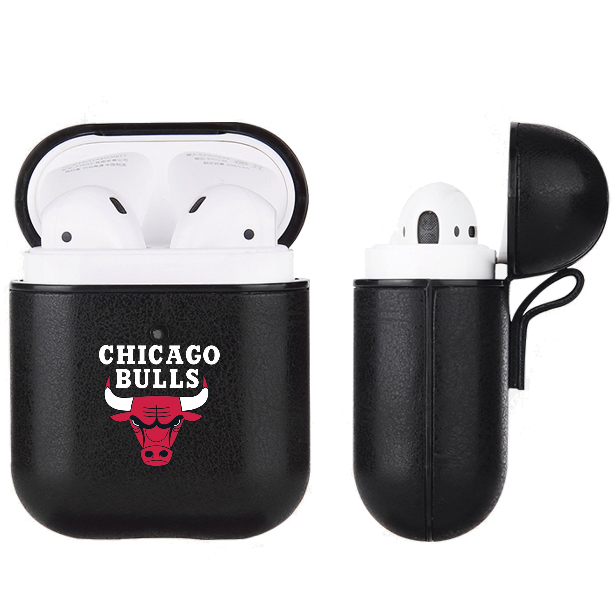 Chicago Bulls Air Pods Black Leatherette Case
