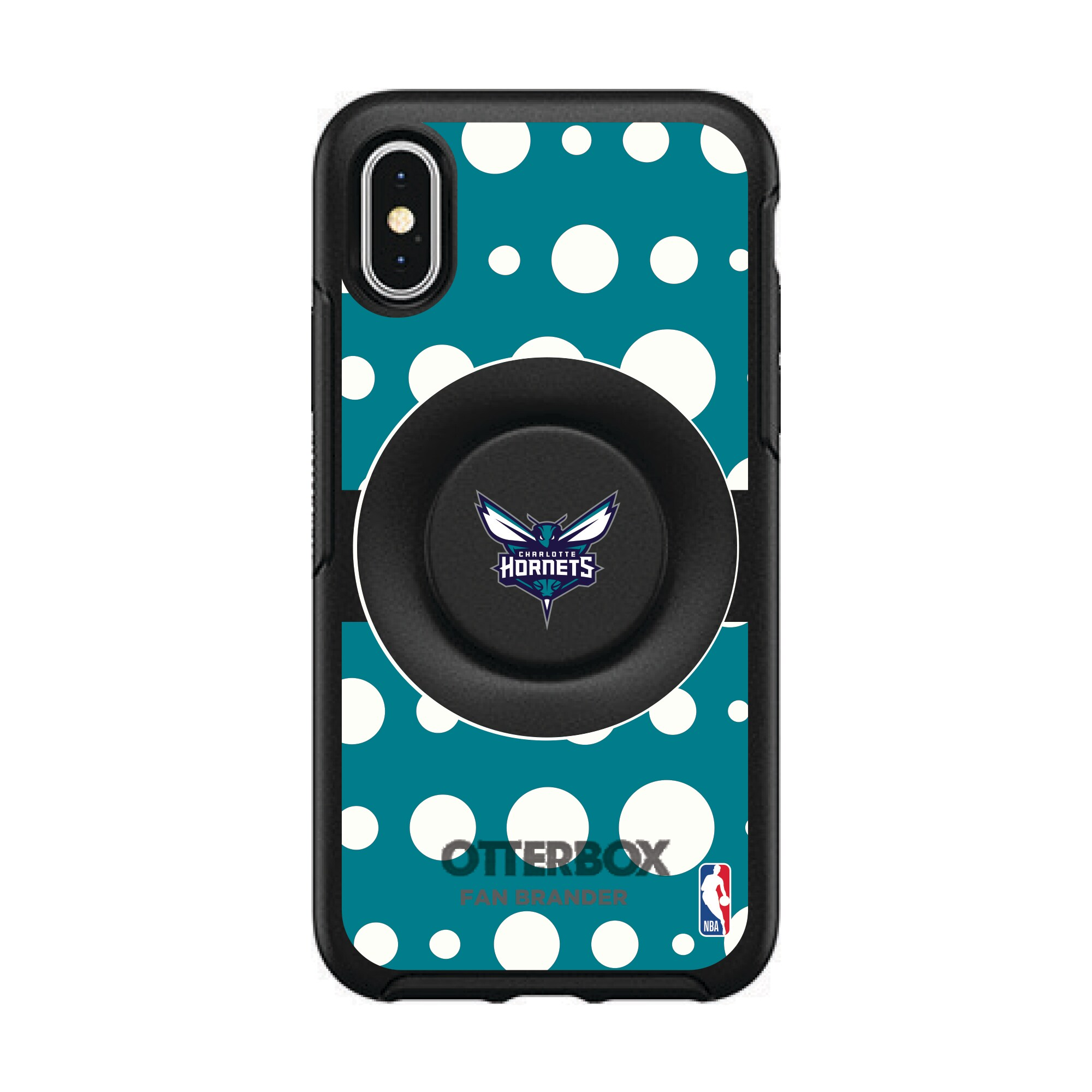 Charlotte Hornets OtterBox Otter+Pop PopSocket Polka Dot iPhone Case
