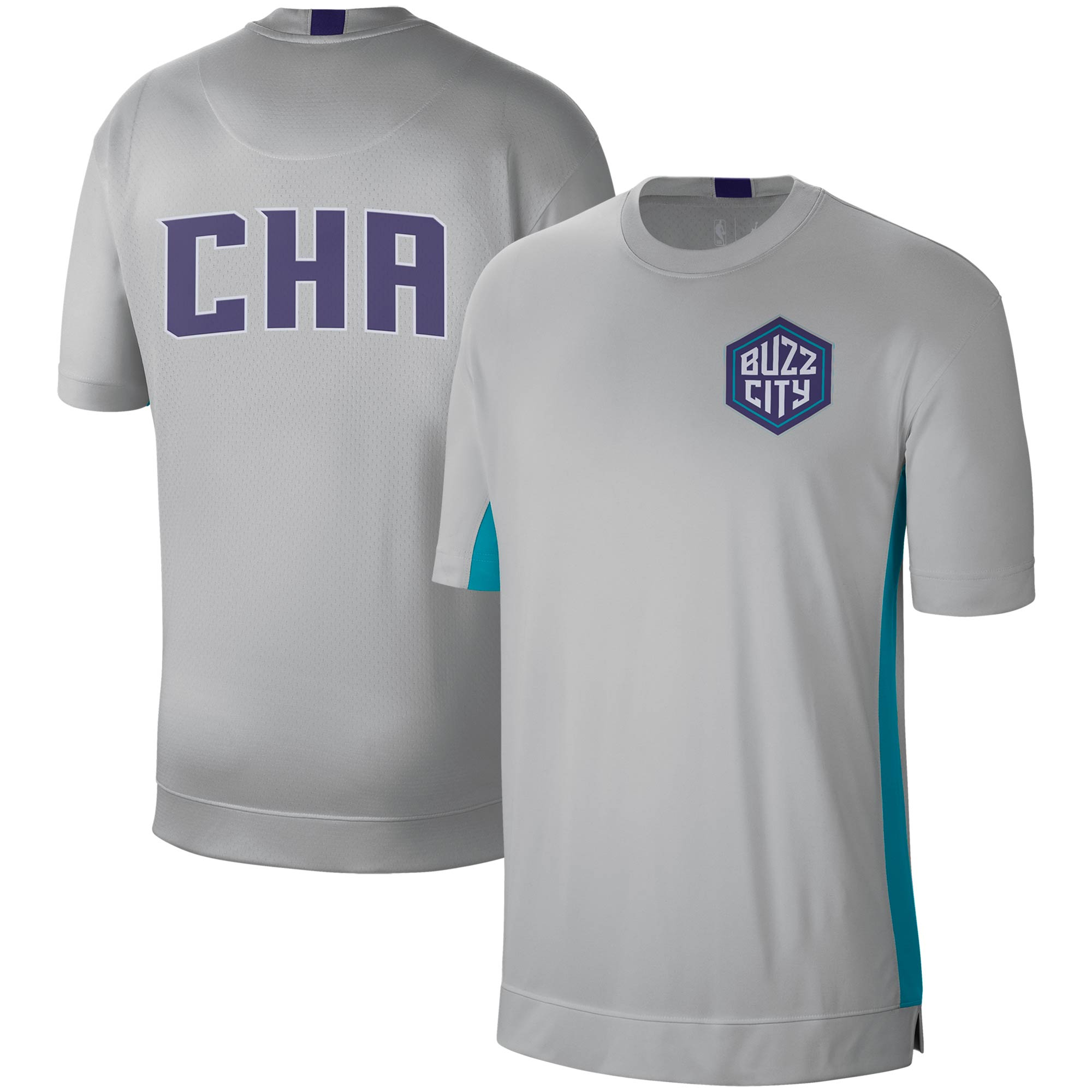 Charlotte Hornets Nike City Edition 2.0 Shooting Performance T-Shirt - Silver/Teal
