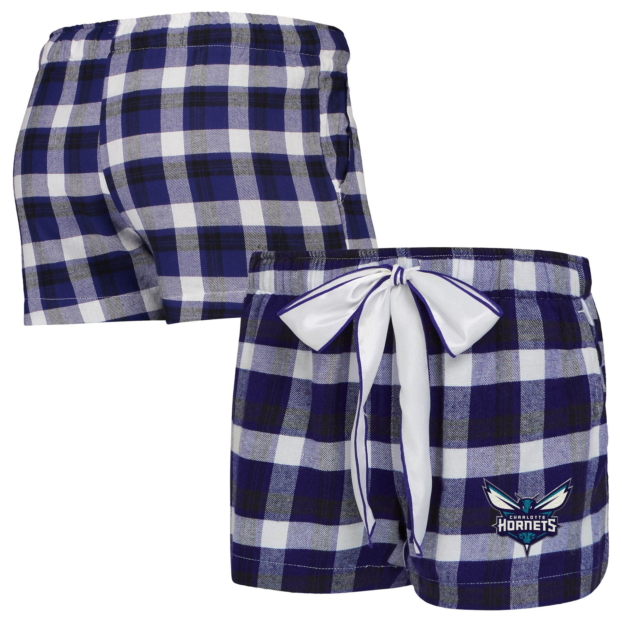 Charlotte Hornets Concepts Sport Women's Piedmont Flannel Sleep Shorts - Purple/Black