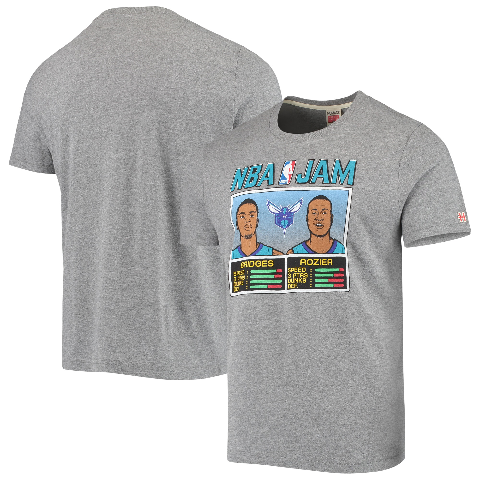 Miles Bridges & Terry Rozier Charlotte Hornets NBA Jam T-Shirt - Heathered Gray