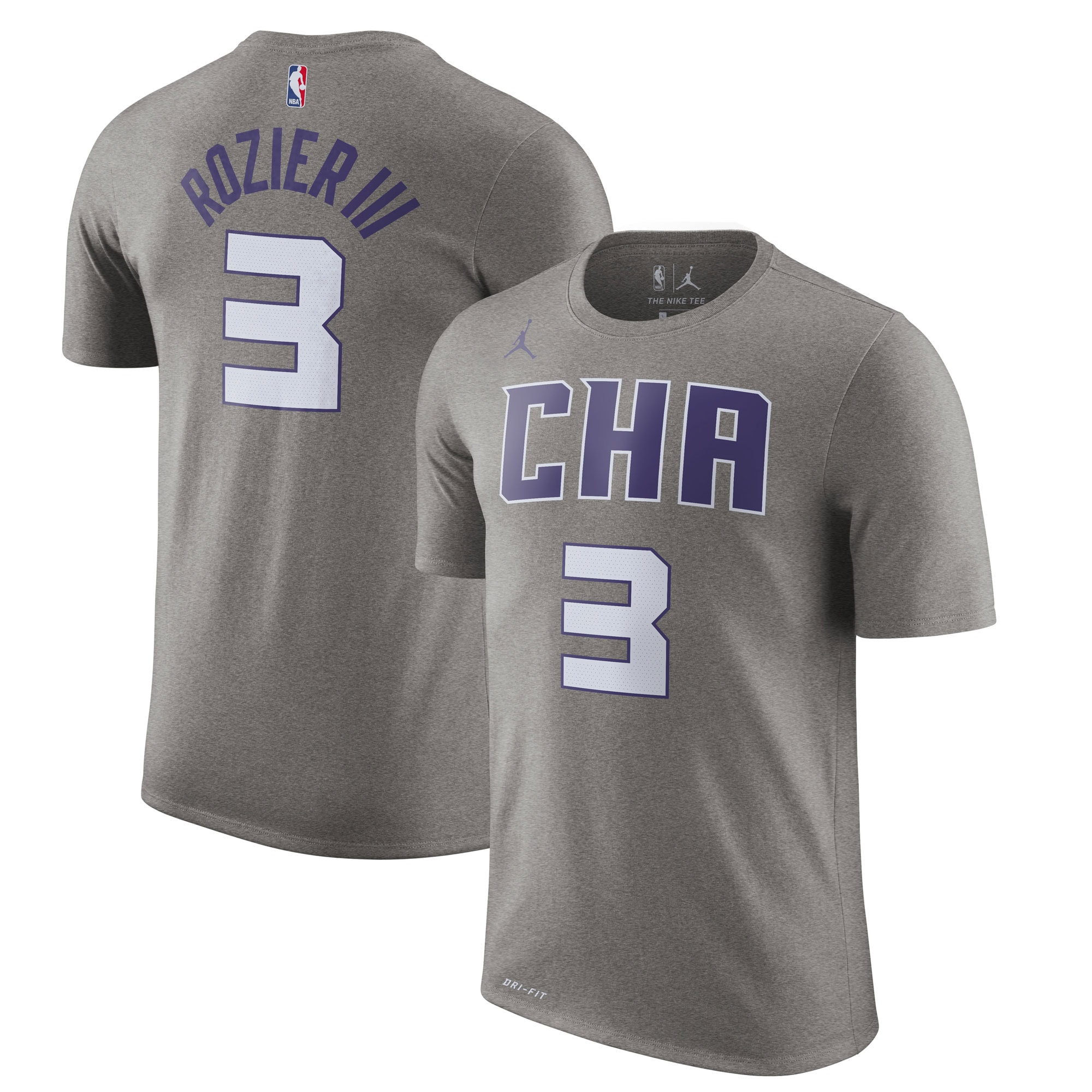 Terry Rozier Charlotte Hornets Jordan Brand 2019/20 City Edition Name & Number T-Shirt - Heather Gray