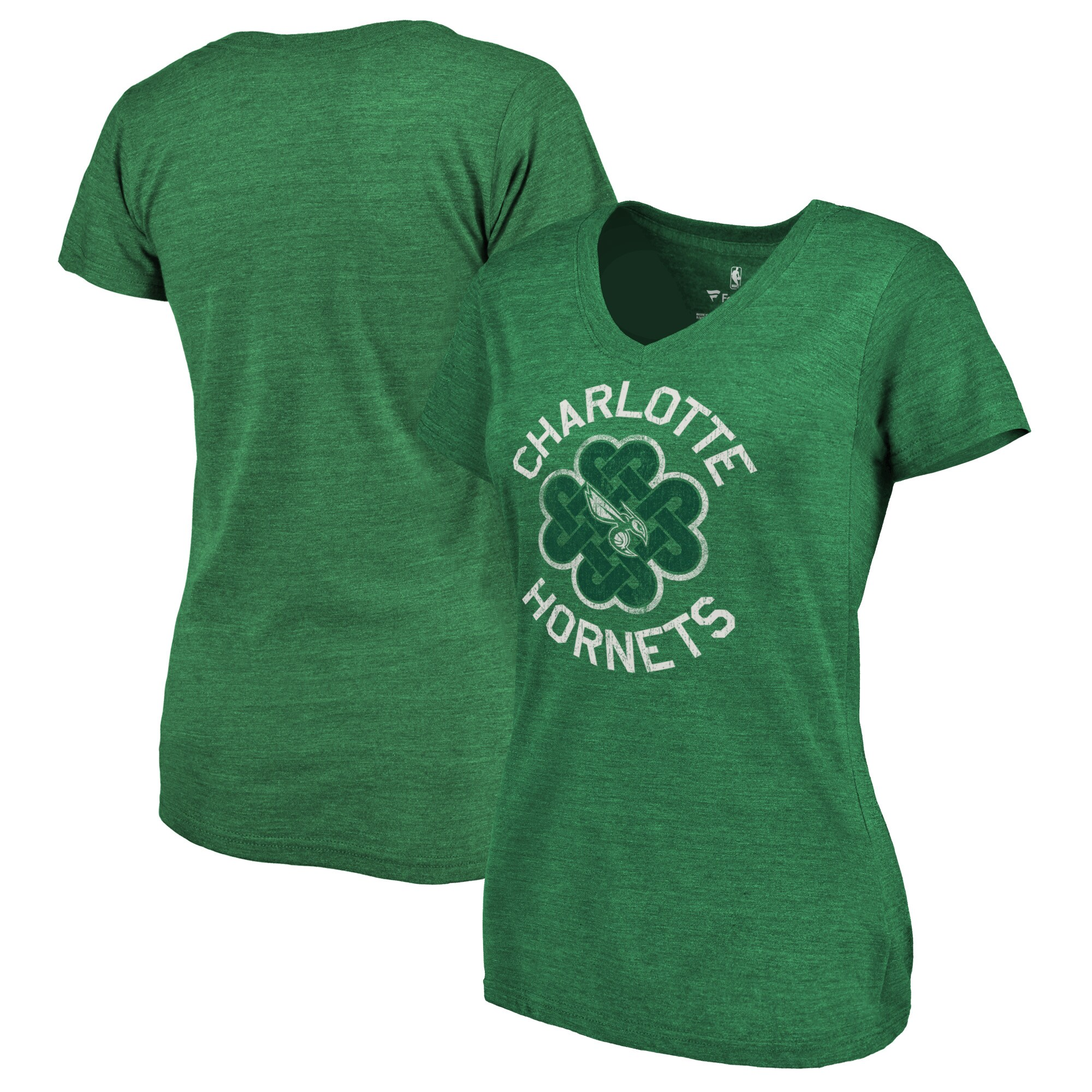 Charlotte Hornets Fanatics Branded Women's St. Patrick's Day Luck Tradition Tri-Blend V-Neck T-Shirt - Green