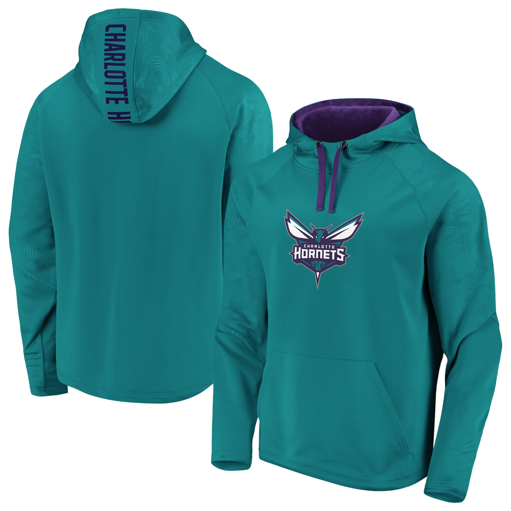 Charlotte Hornets Fanatics Branded Iconic Defender Performance Primary Logo Pullover Hoodie - Teal/Purple