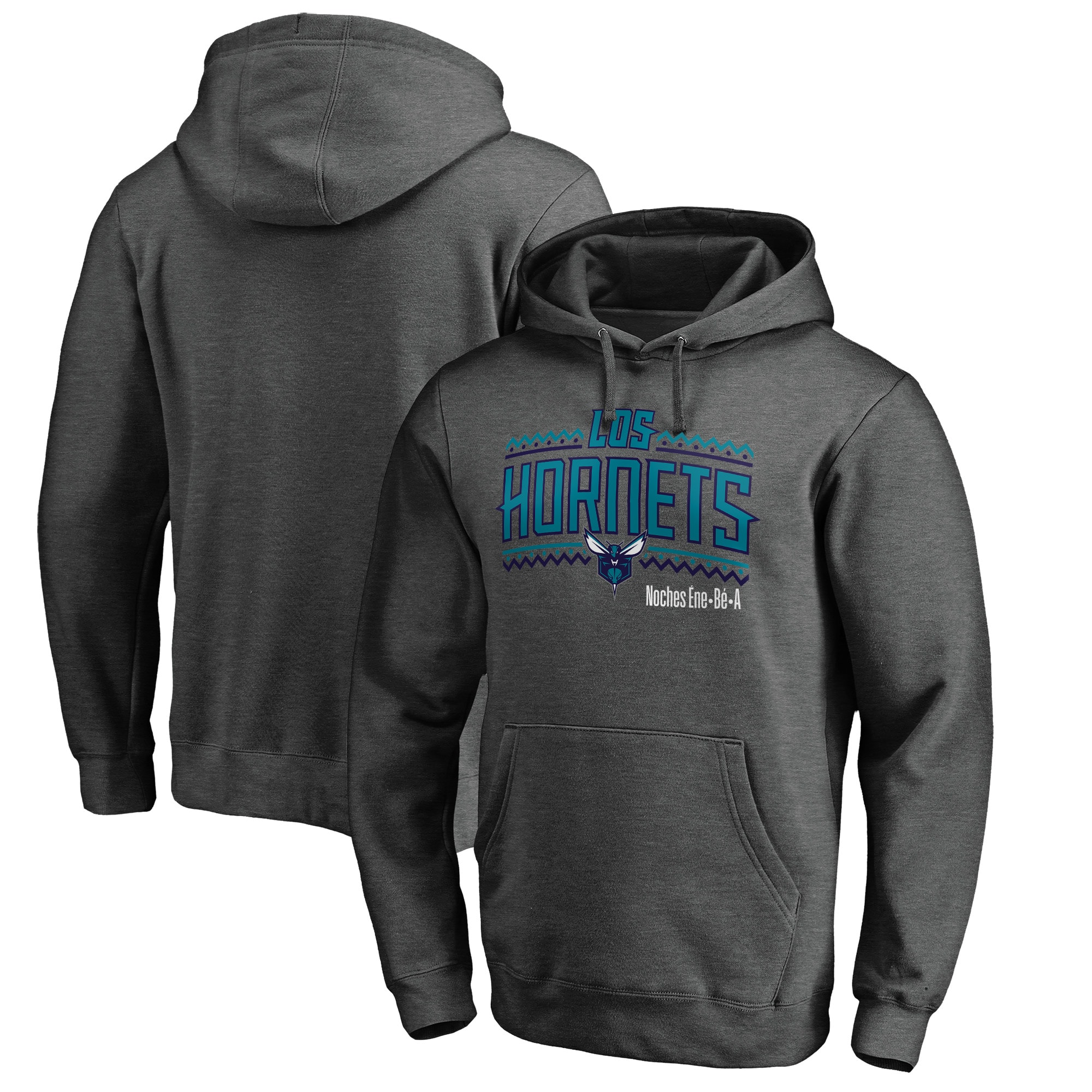 Charlotte Hornets Fanatics Branded Noches Ene-Be-A Pullover Hoodie - Heather Gray