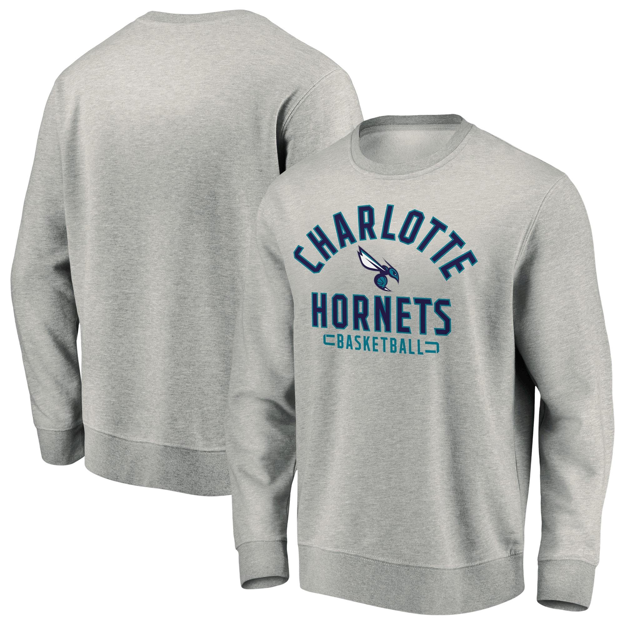 Charlotte Hornets Fanatics Branded Iconic Team Arc Stack Fleece Sweatshirt - Heathered Gray