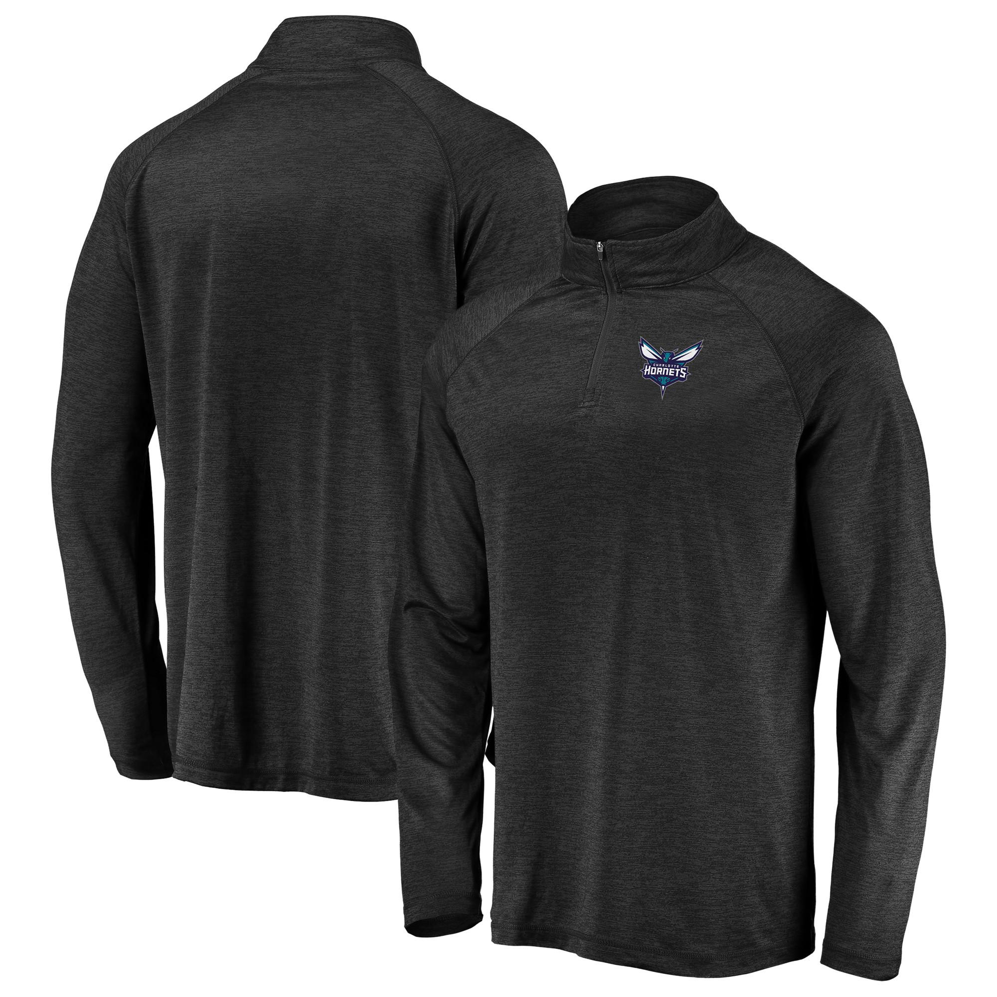 Charlotte Hornets Fanatics Branded Iconic Striated Raglan Quarter-Zip Pullover Jacket - Black