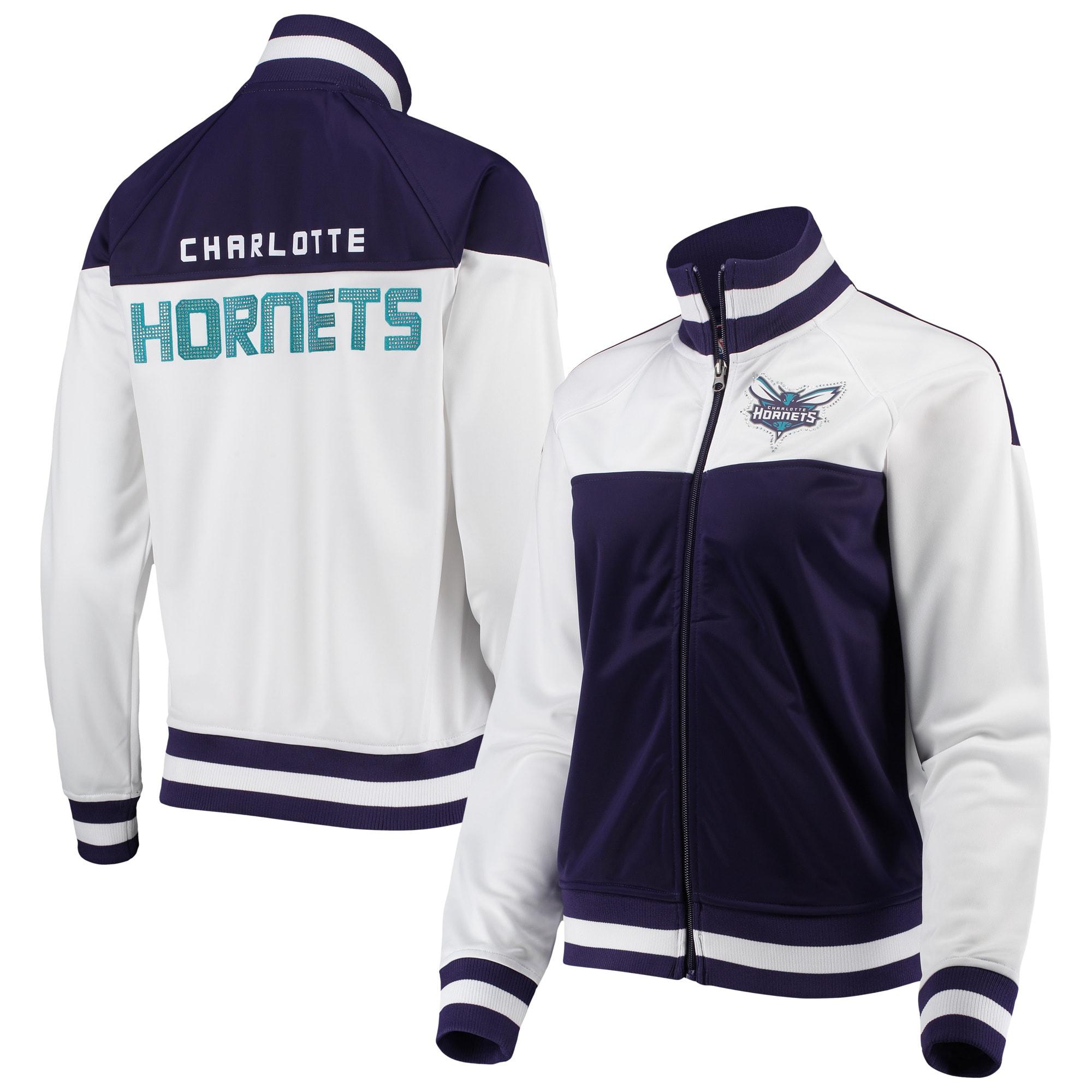 Charlotte Hornets G-III 4Her by Carl Banks Women's Tip-Off Rhinestone Tricot Full-Zip Track Jacket - White/Purple